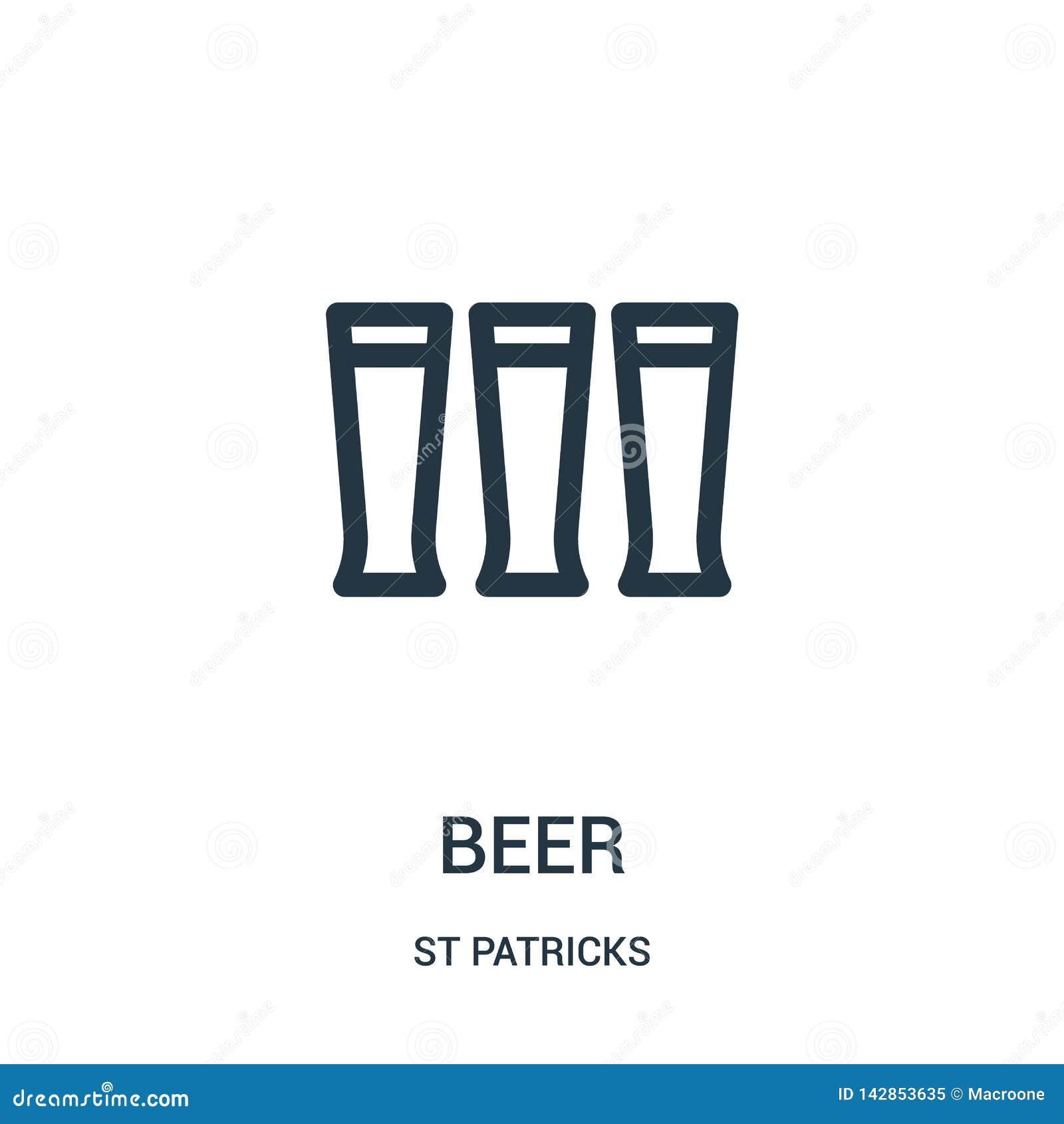 ölsymbolsvektor från st-patrickssamling Tunn linje illustration för vektor för ölöversiktssymbol Linjärt symbol för bruk på rengö