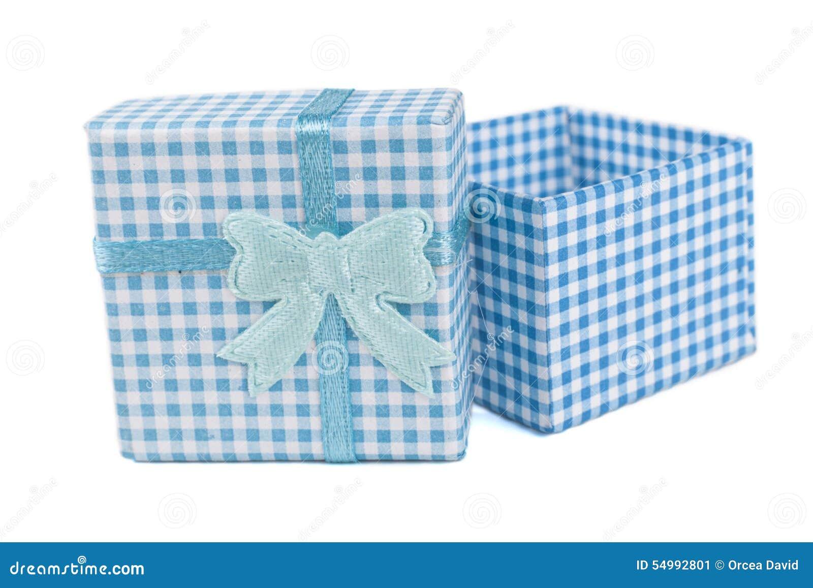 öppen blå ask