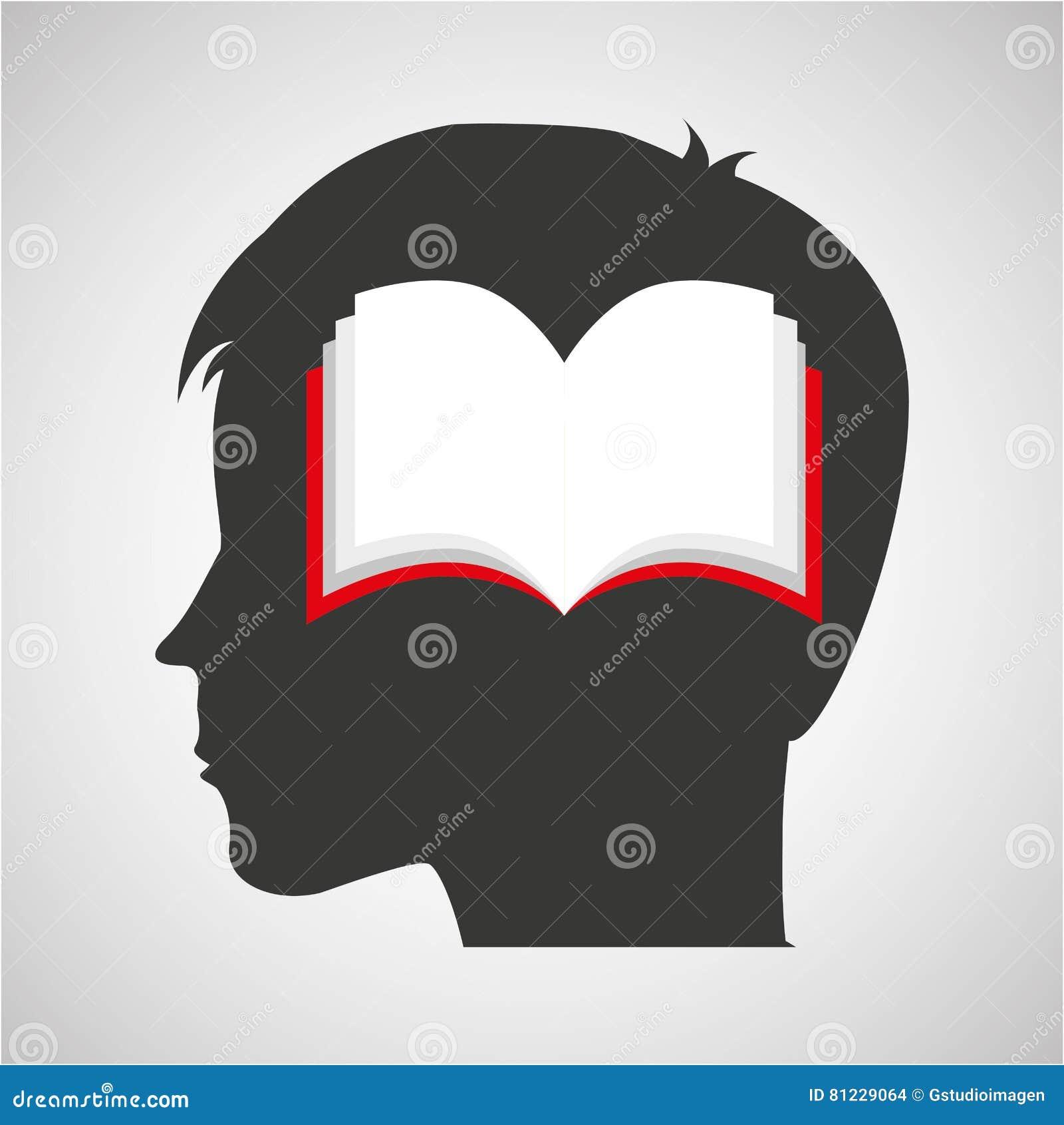 Öppen bok för konturmanlig elevrepresentantstudent