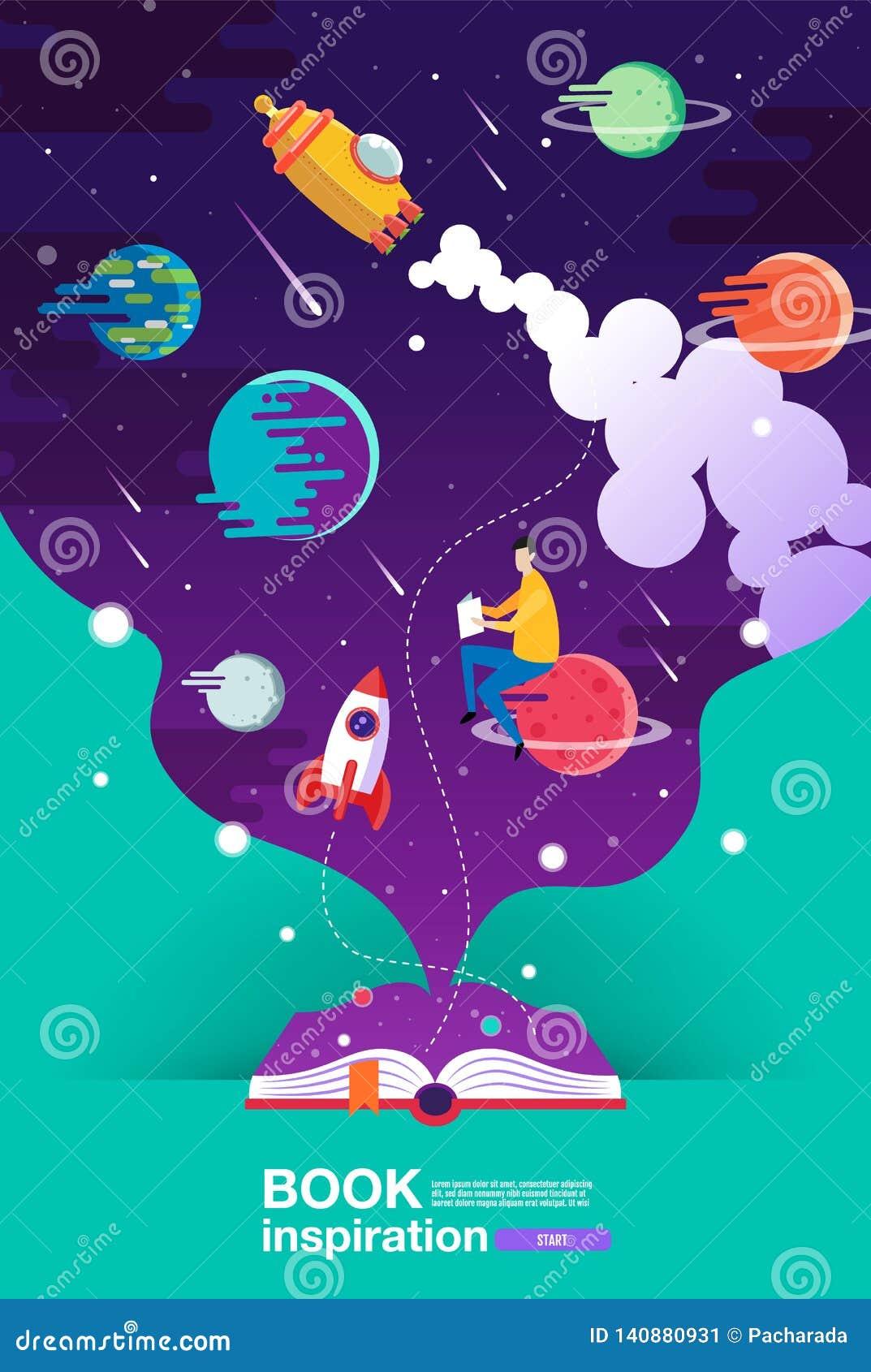 Öppen bok, utrymmebakgrund, skola, läsning och lära, fantasi och inspirationbild Fantasi och idérikt, vektorlägenhet