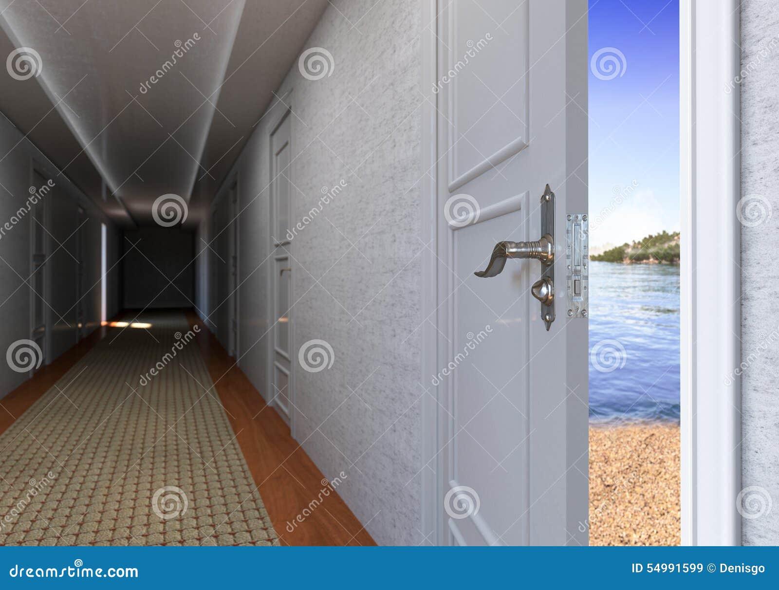Öppen dörr till strandsemesterbegreppet