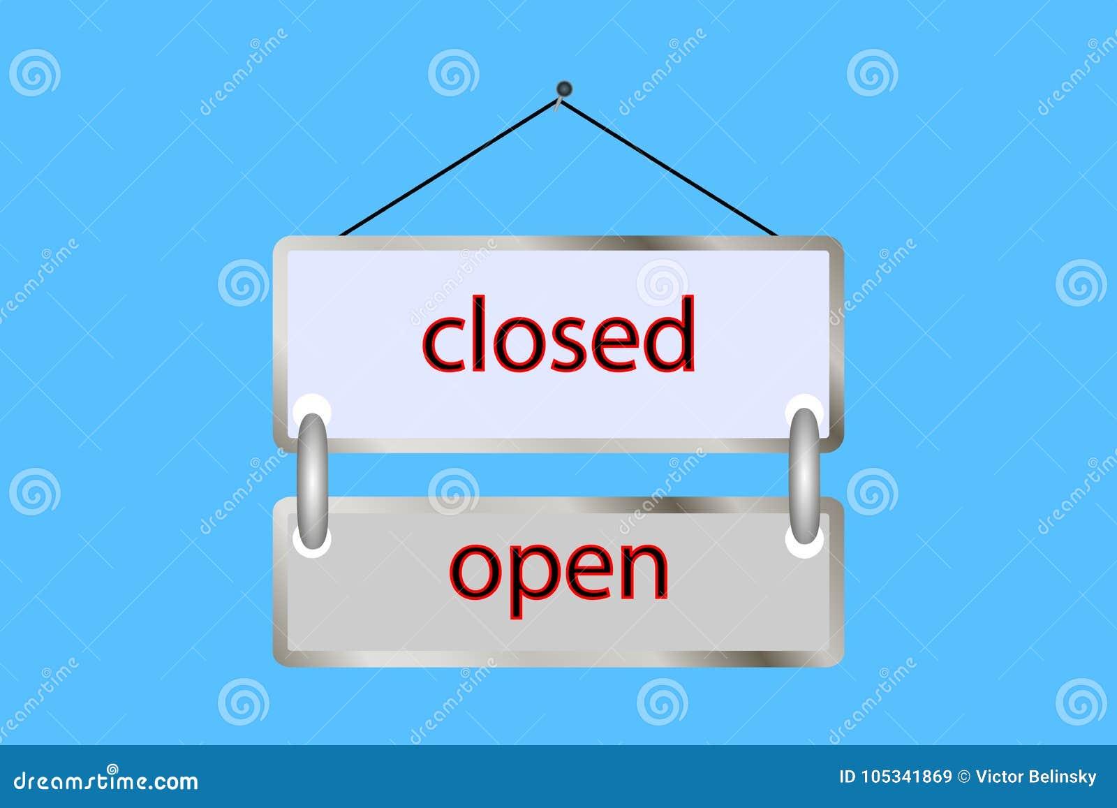öppet stängt för minnestavla vektor shoppa tappning, affisch