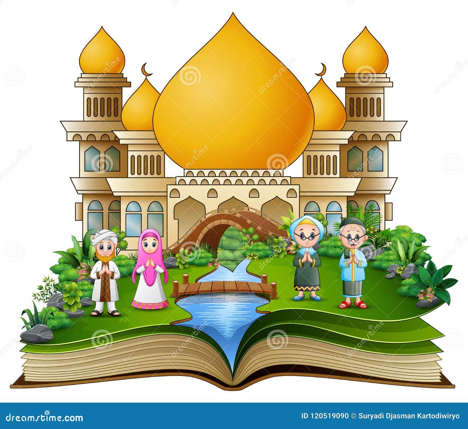 Öppna boken med den lyckliga muslimfamiljen som framme hälsar av en moské