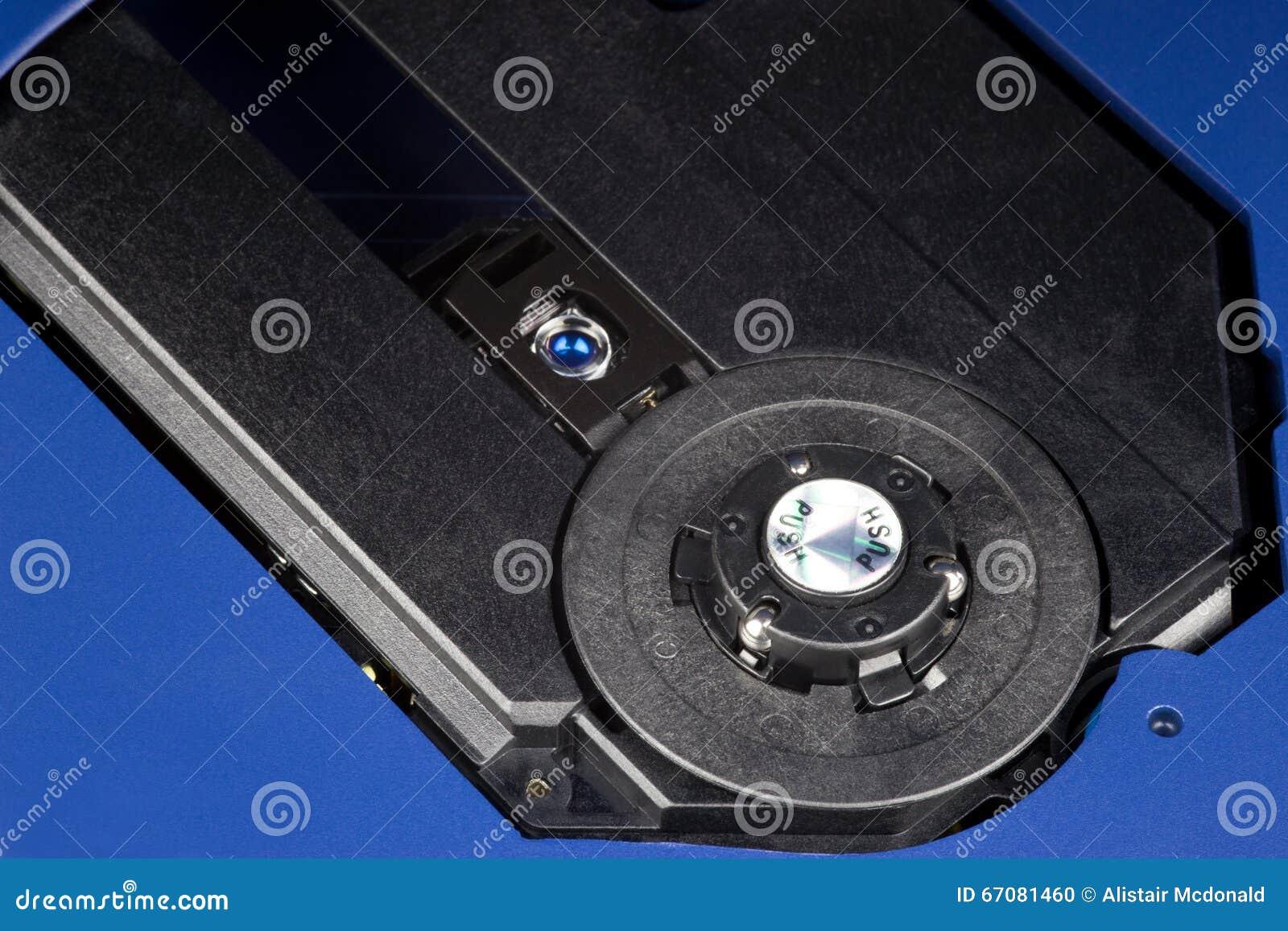 Öppna CD-spelare som visar laser och spindeln