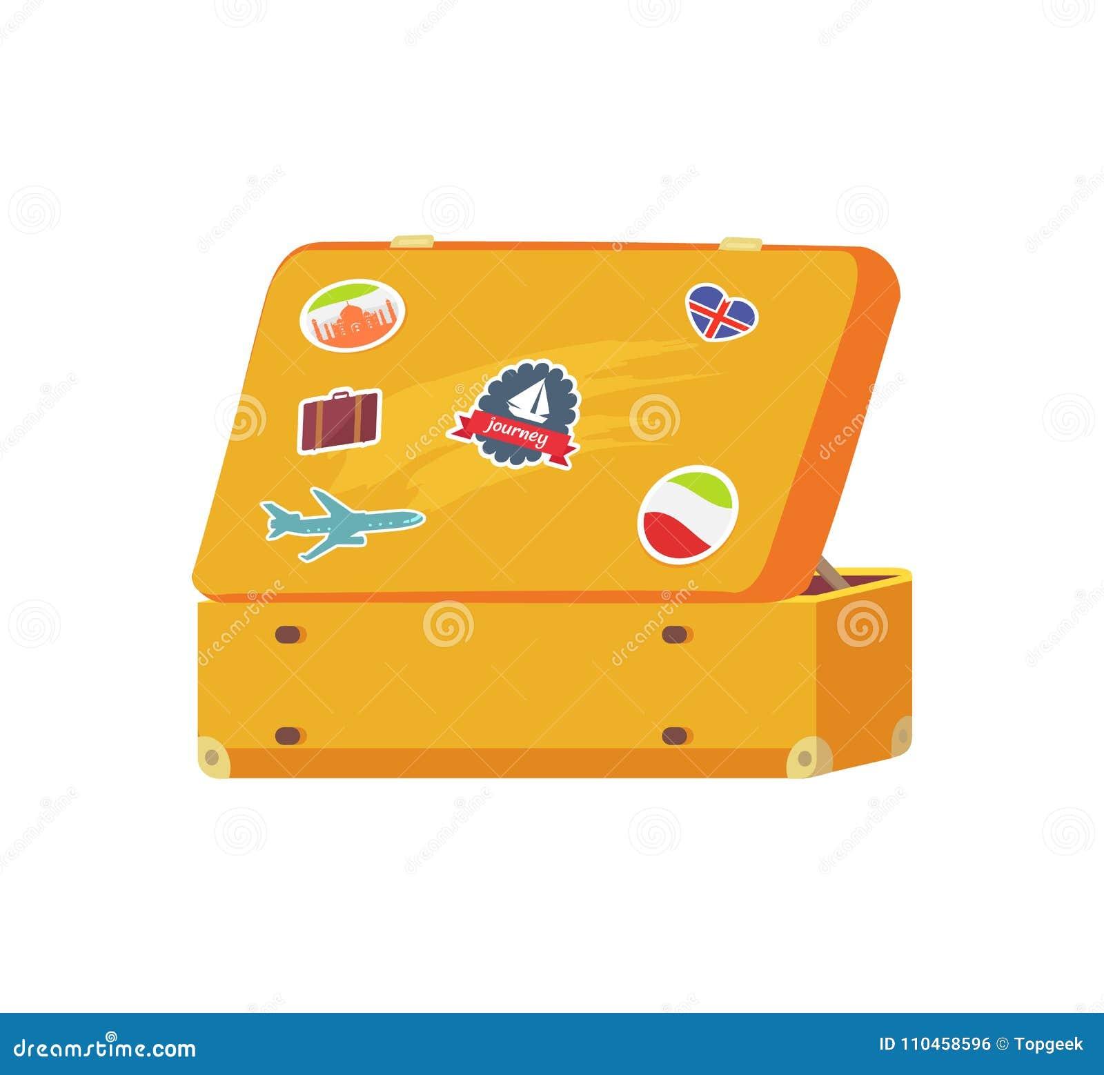 Öppna den Retro resväskan med minnesklistermärkesegelbåten