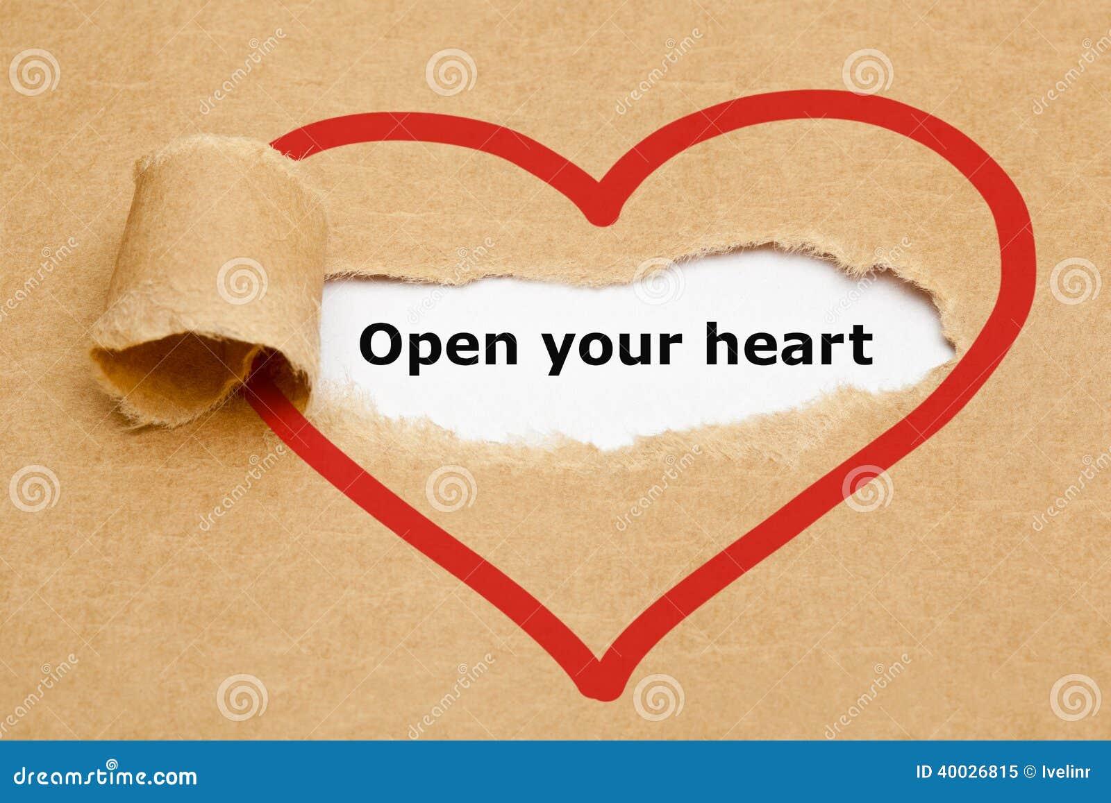 Öppna ditt sönderrivna papper för hjärta