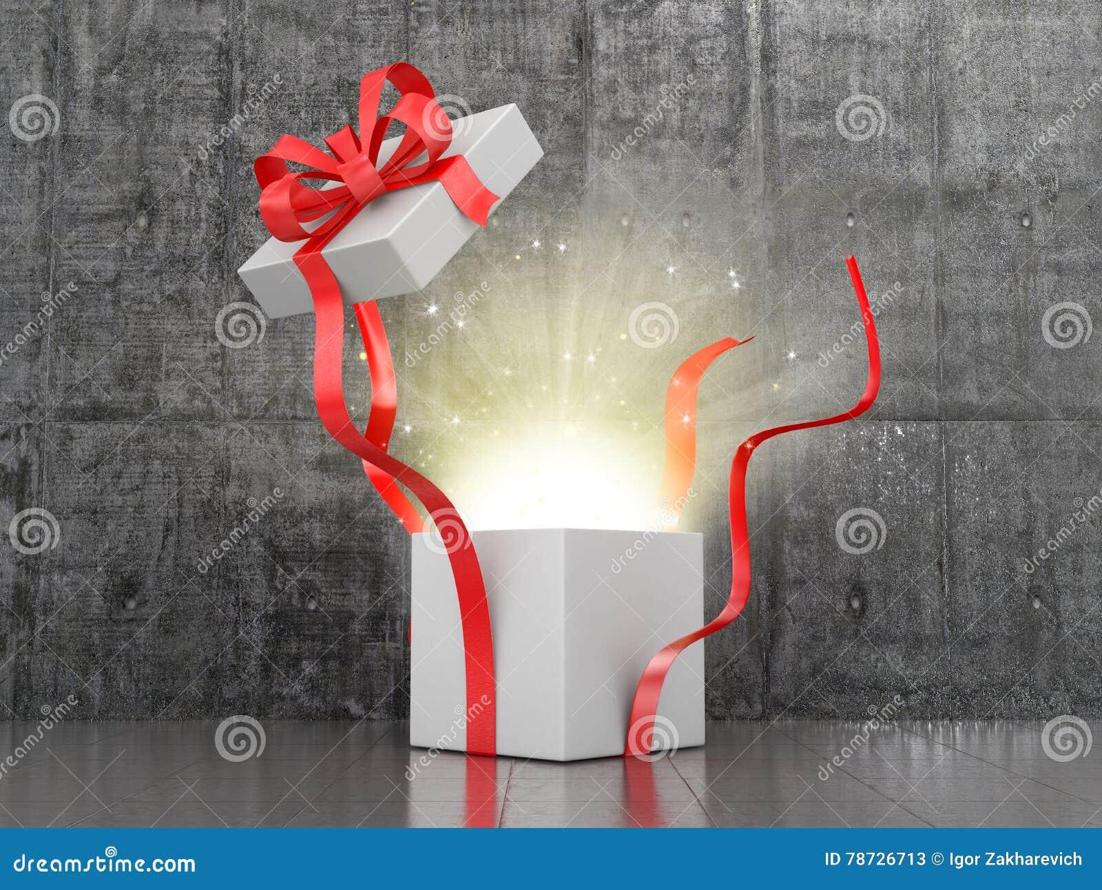 Öppna gåvaasken som kommer från glödet