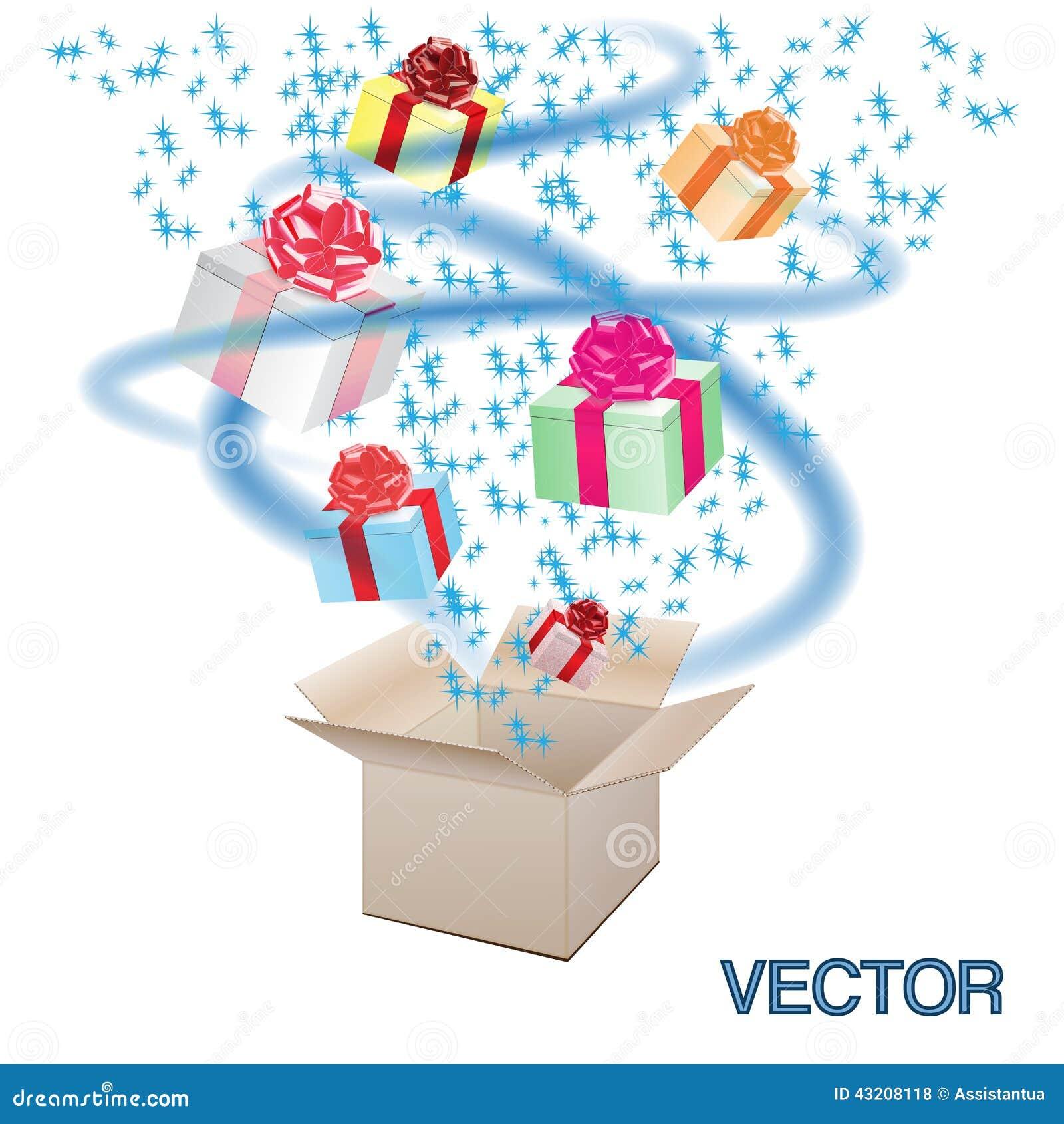 Download Öppna kartongen med gåvor vektor illustrationer. Illustration av papp - 43208118