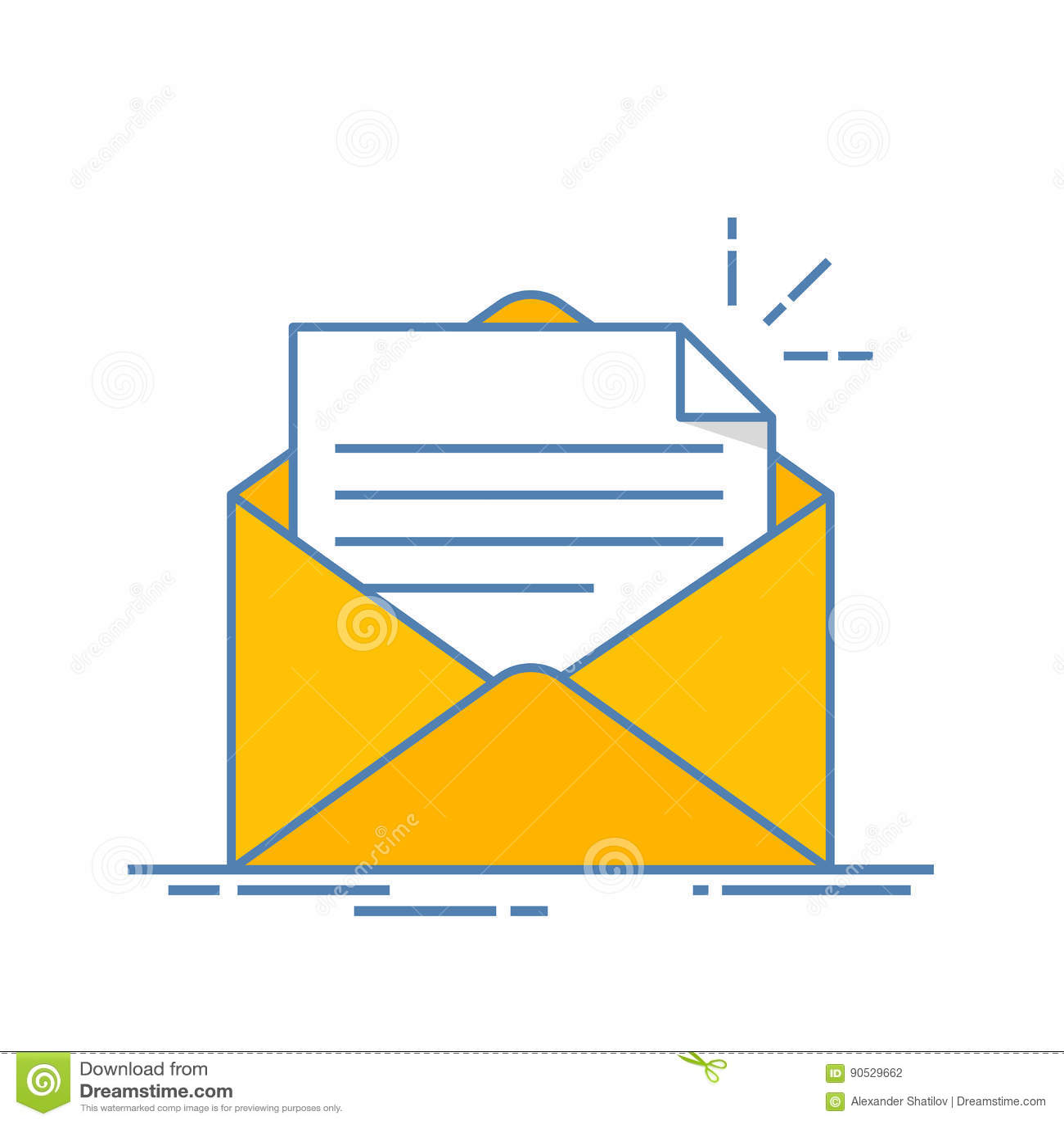 Öppna kuvertet med ett dokument ny bokstav Överföring av överensstämmelse Plan linje illustration som isoleras på vit bakgrund