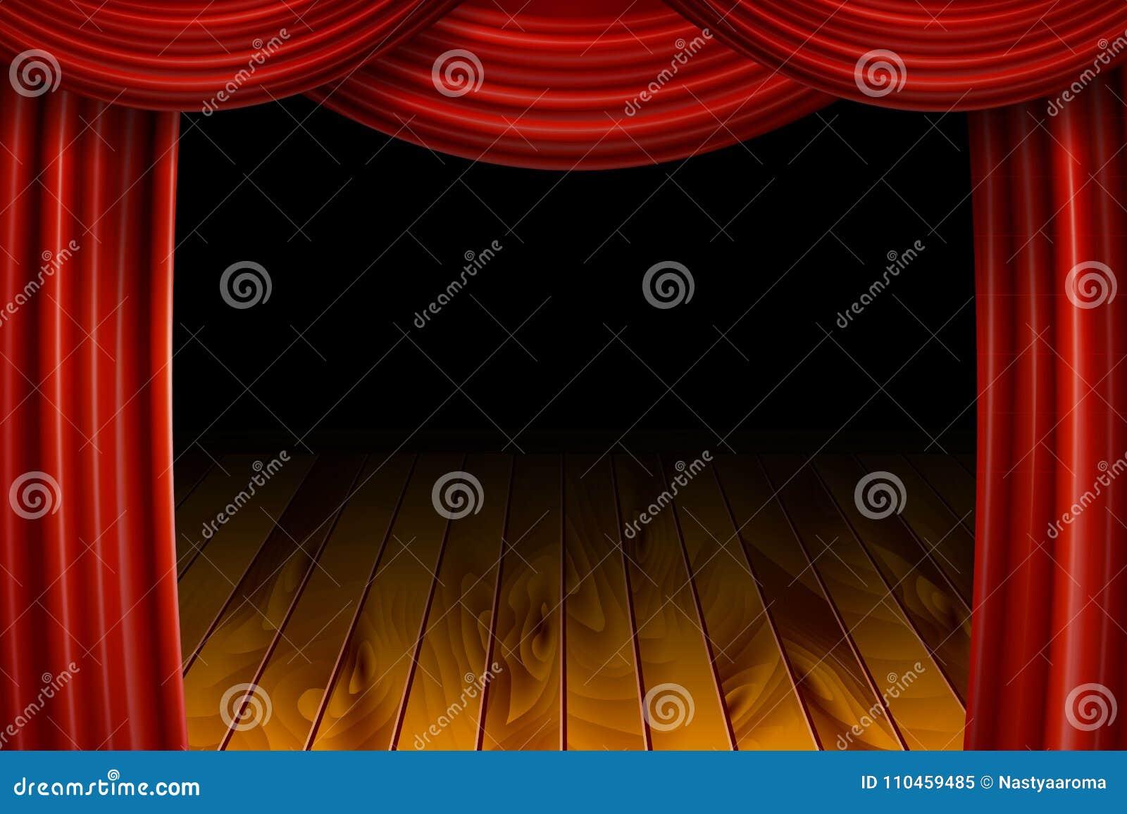 Öppna röda sammetfilmgardiner med den svarta skärmen