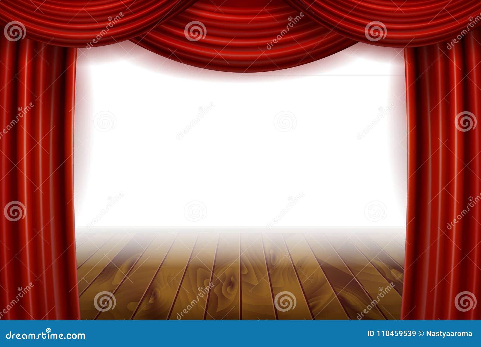 Öppna röda sammetfilmgardiner med den vita skärmen