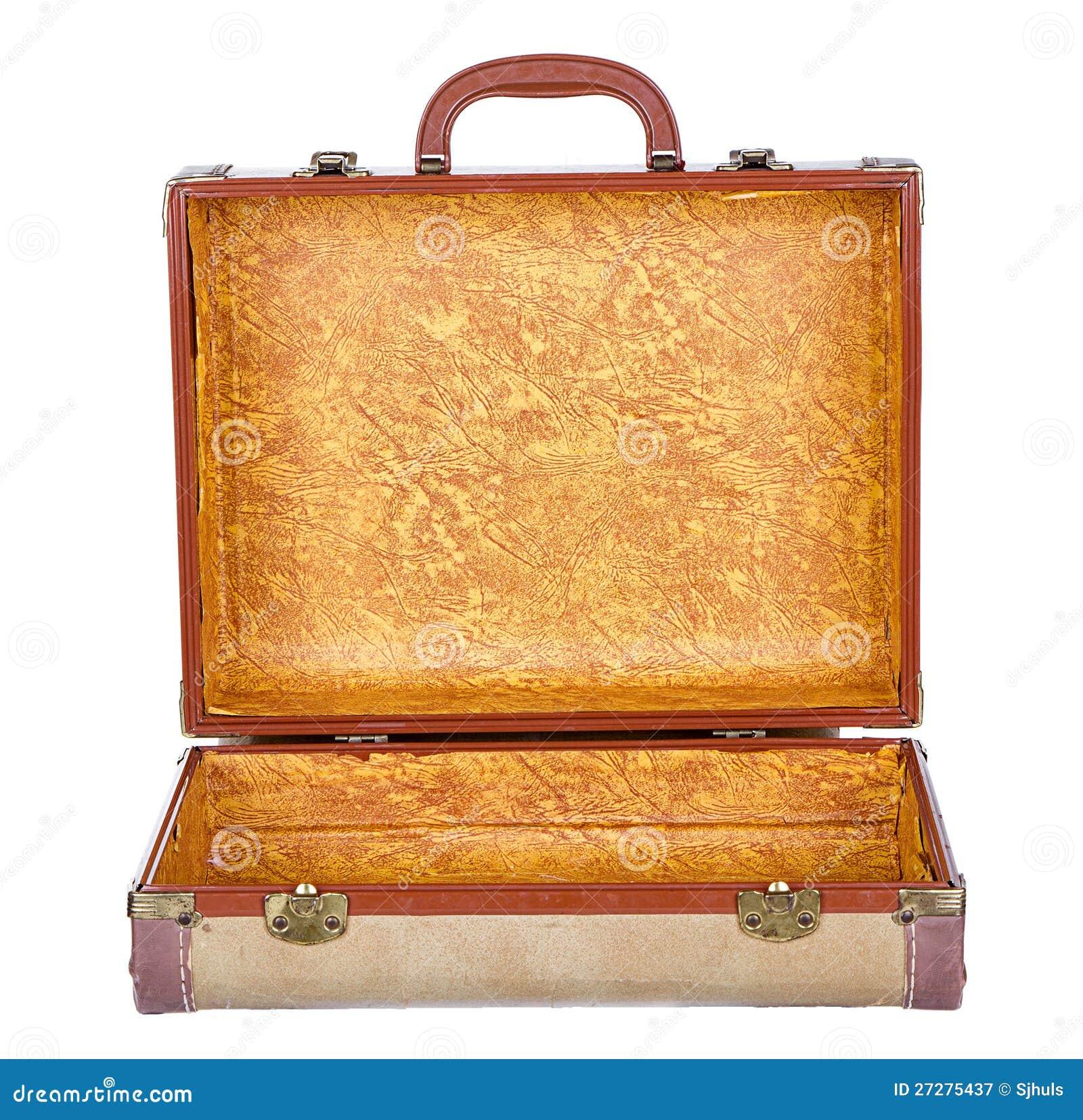 Öppna tappningresväska eller bagage, isolerat