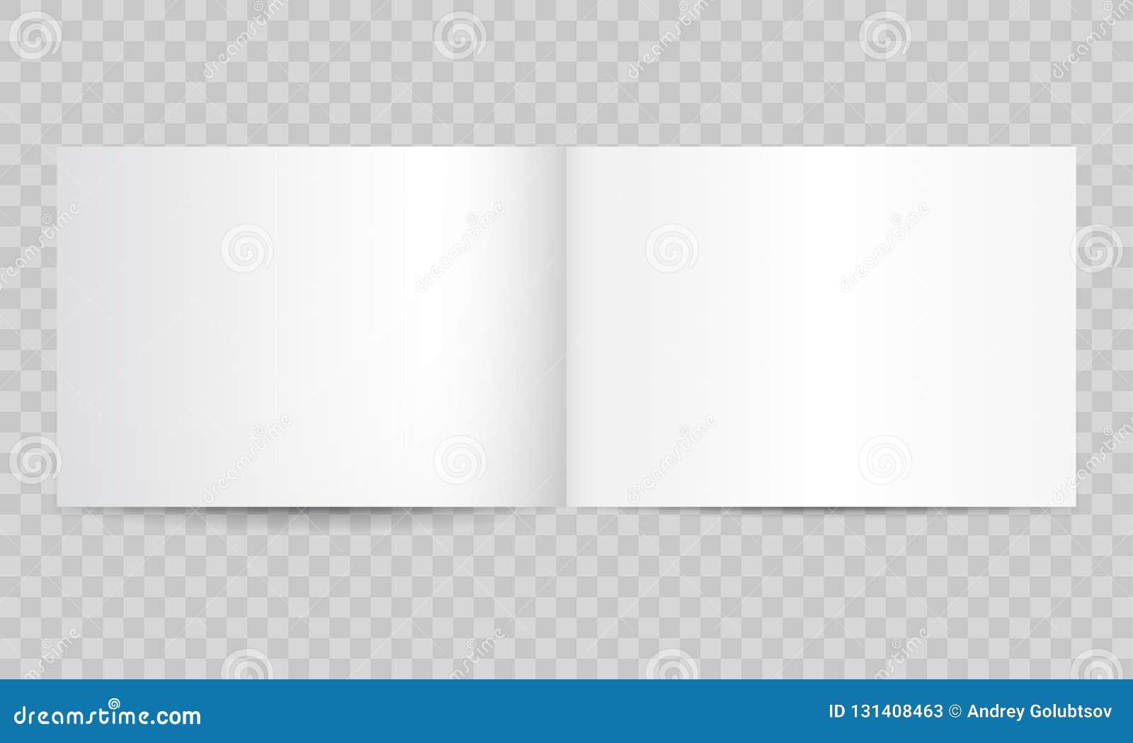 Öppna tomma sidor för boktidskrift Vektor tom isolerad modell för häfte för broschyr- eller horisontalför landskap A4 för katalog