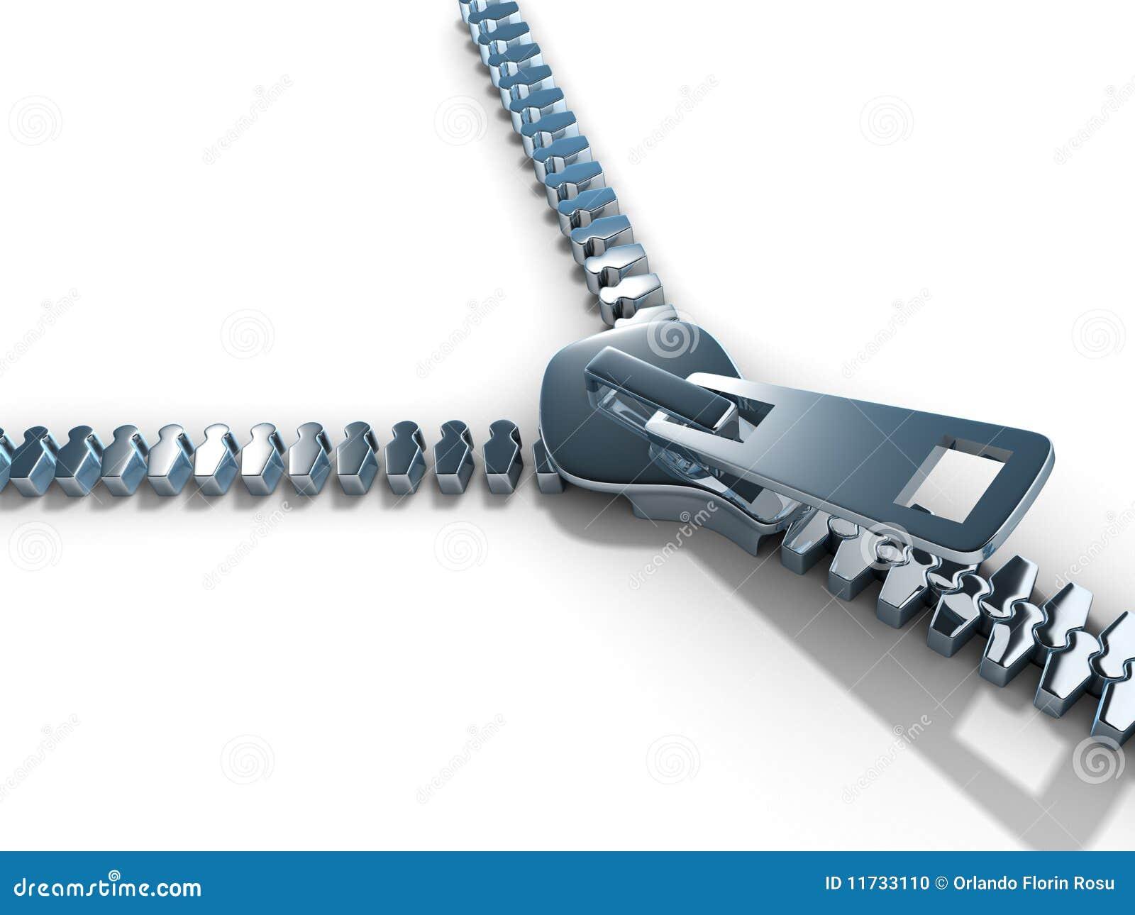 öppna zipperen