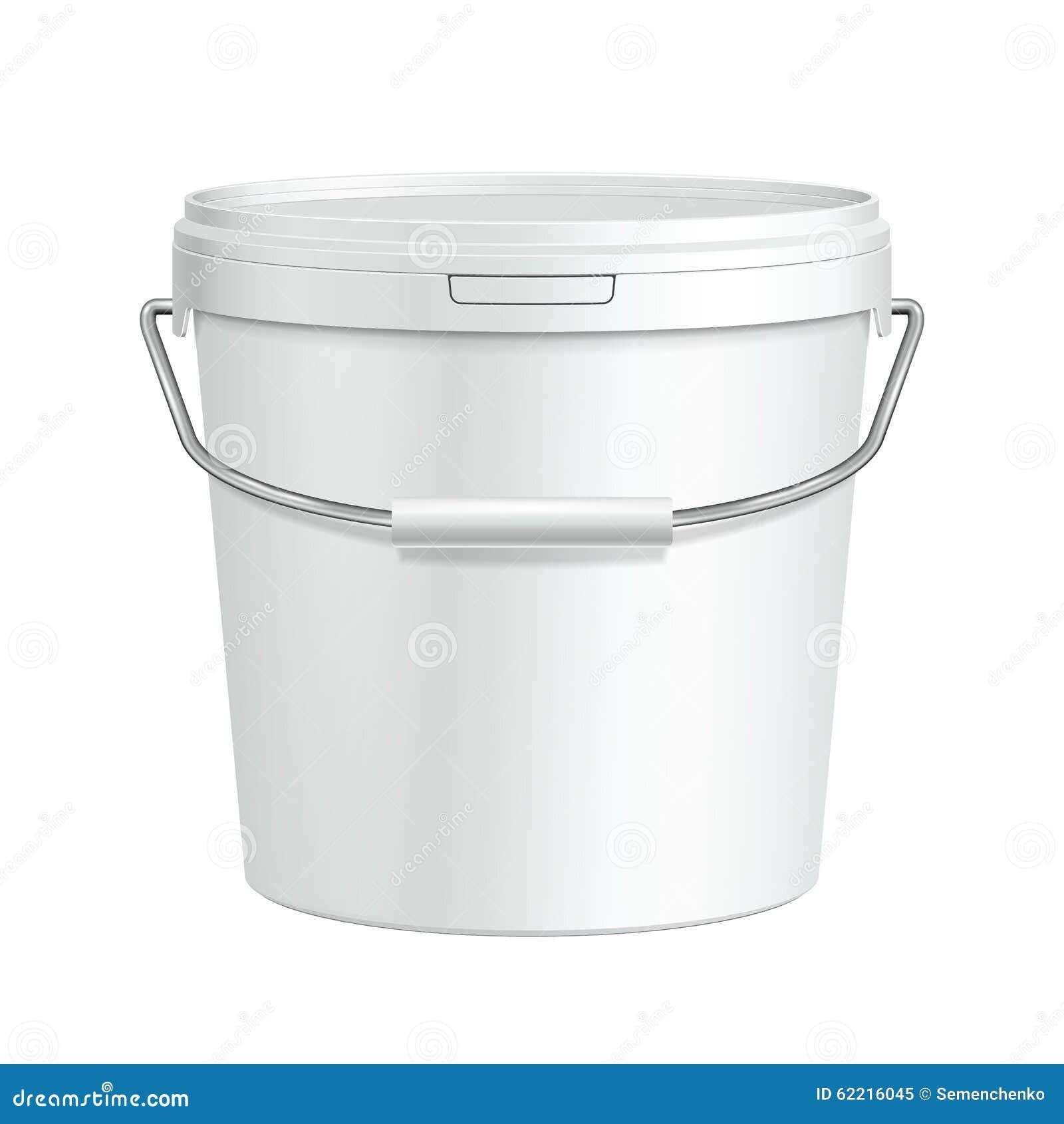 Öppnad högväxt vit badar den plast- hinkbehållaren för målarfärg med metallhandtaget Murbruk spackel, färgpulver
