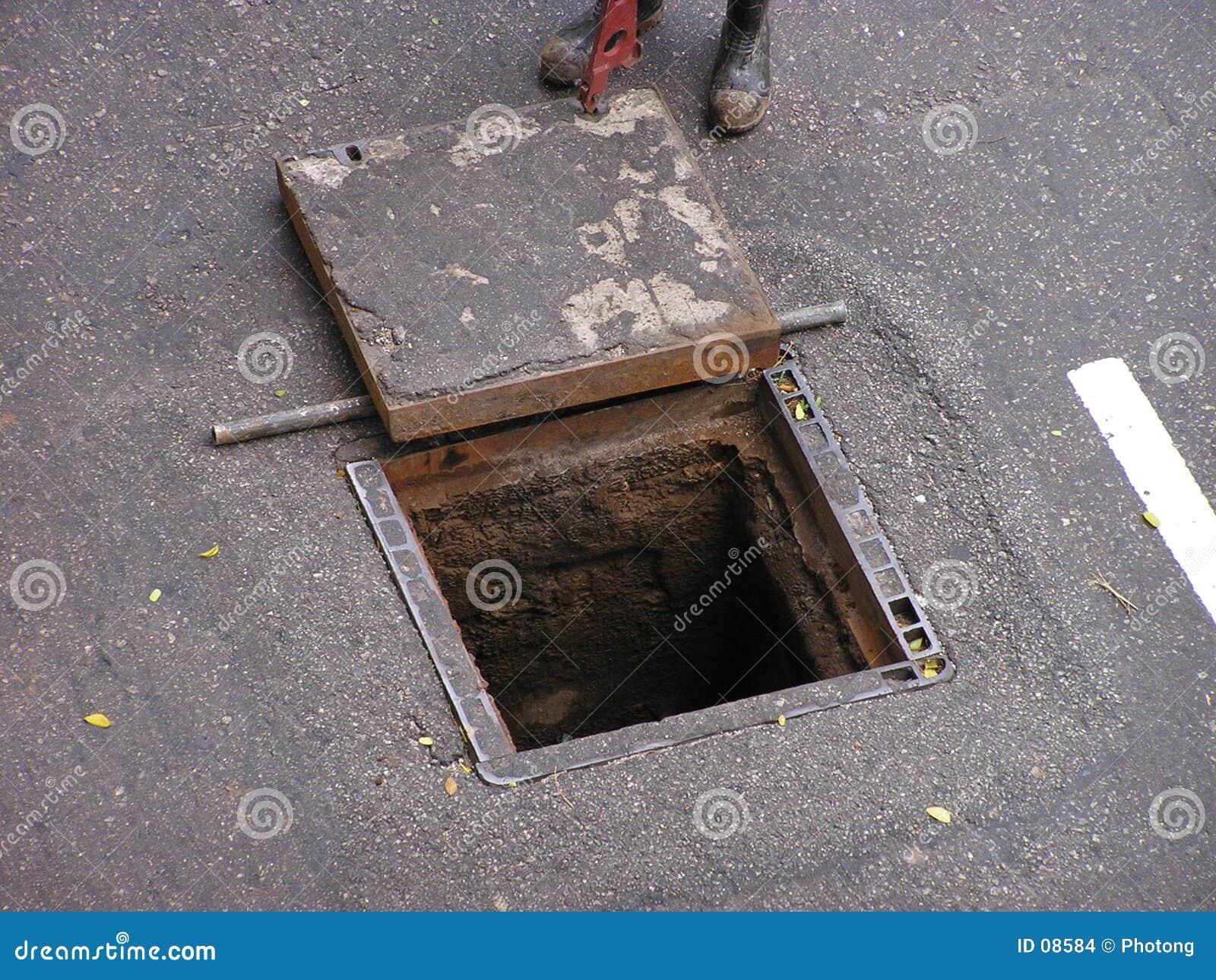 öppnad manhole