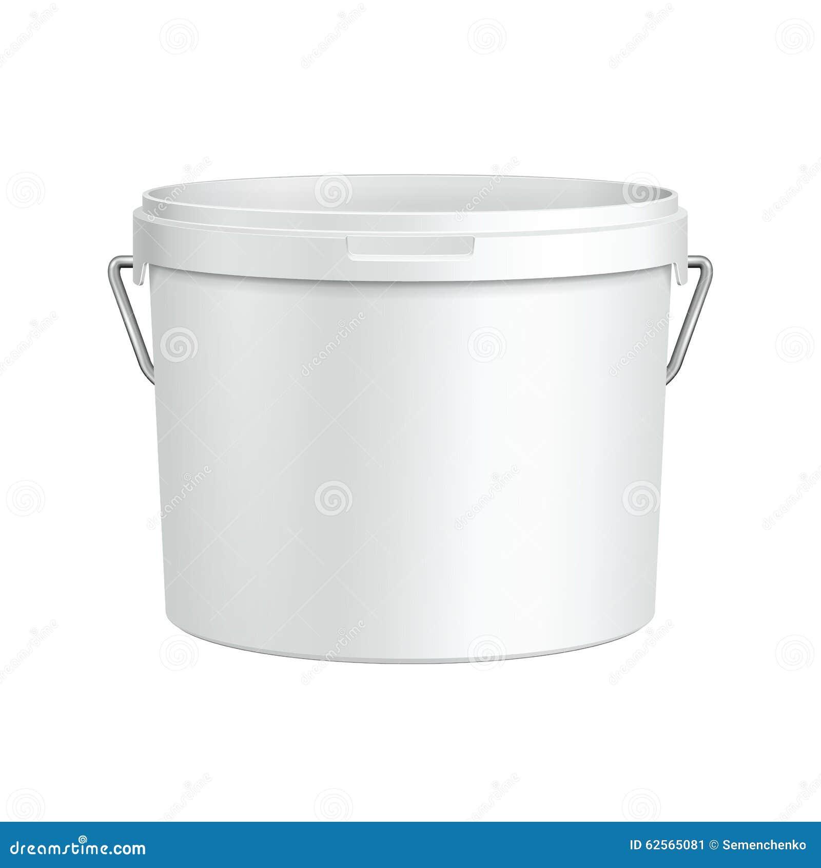 Öppnad vit badar den plast- hinkbehållaren för målarfärg med metallhandtaget