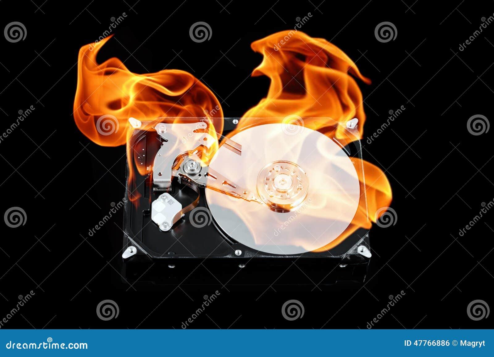 Öppnad yttre hårddisk på brand Hårddiskfel Dataförlustbegrepp, datorkrasch