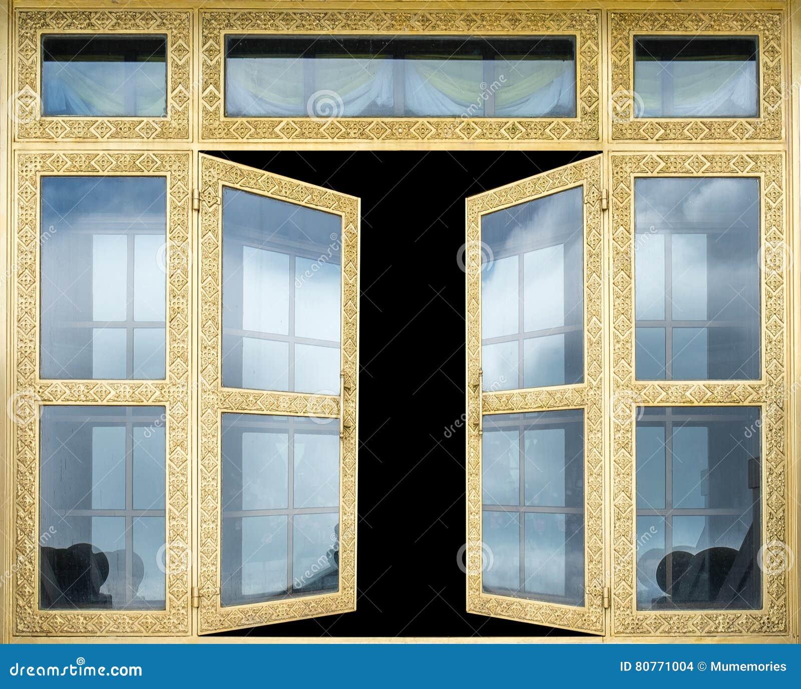 Öppnar den eleganta guld- porten för arkitektur