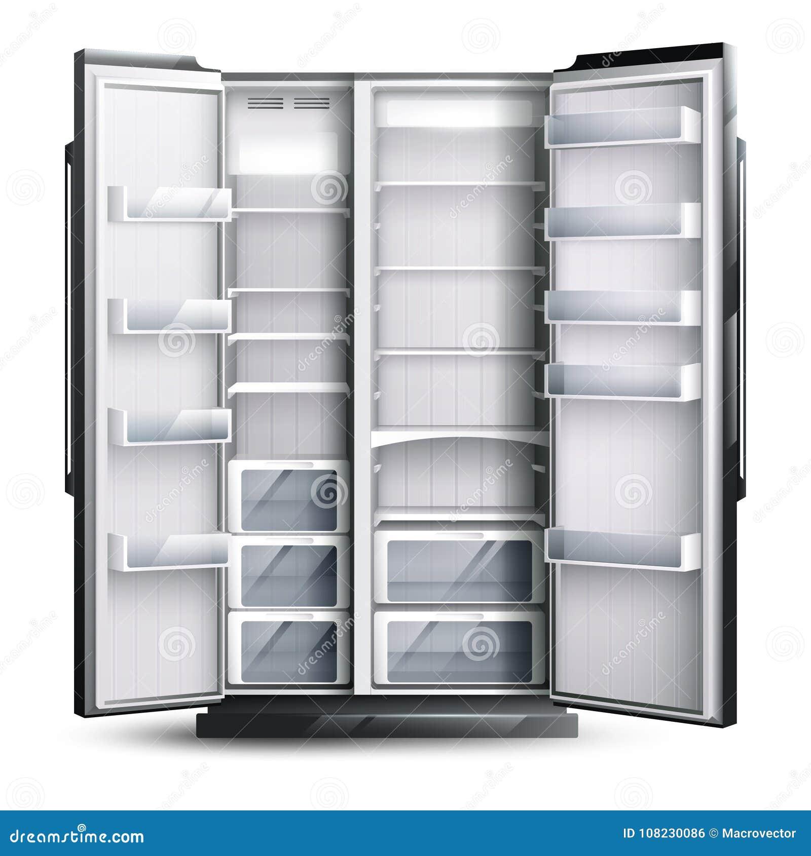 Öppnat mer bred tomt kylskåp
