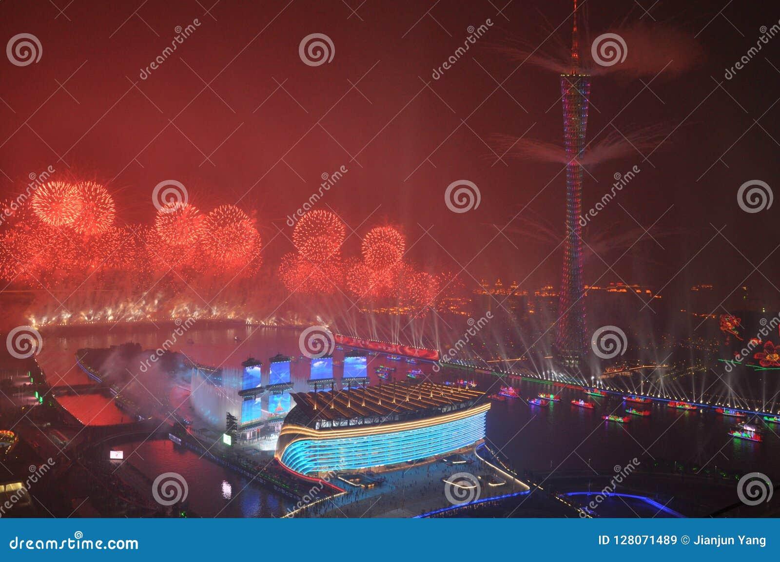 Öppningscermoni Guangzhou Kina för 2010 asiatiska spelen