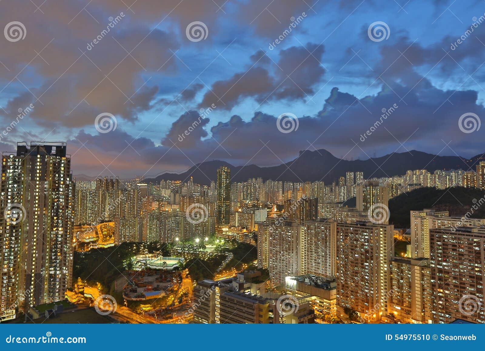 Öst av den Kowloon sidan i Hong Kong