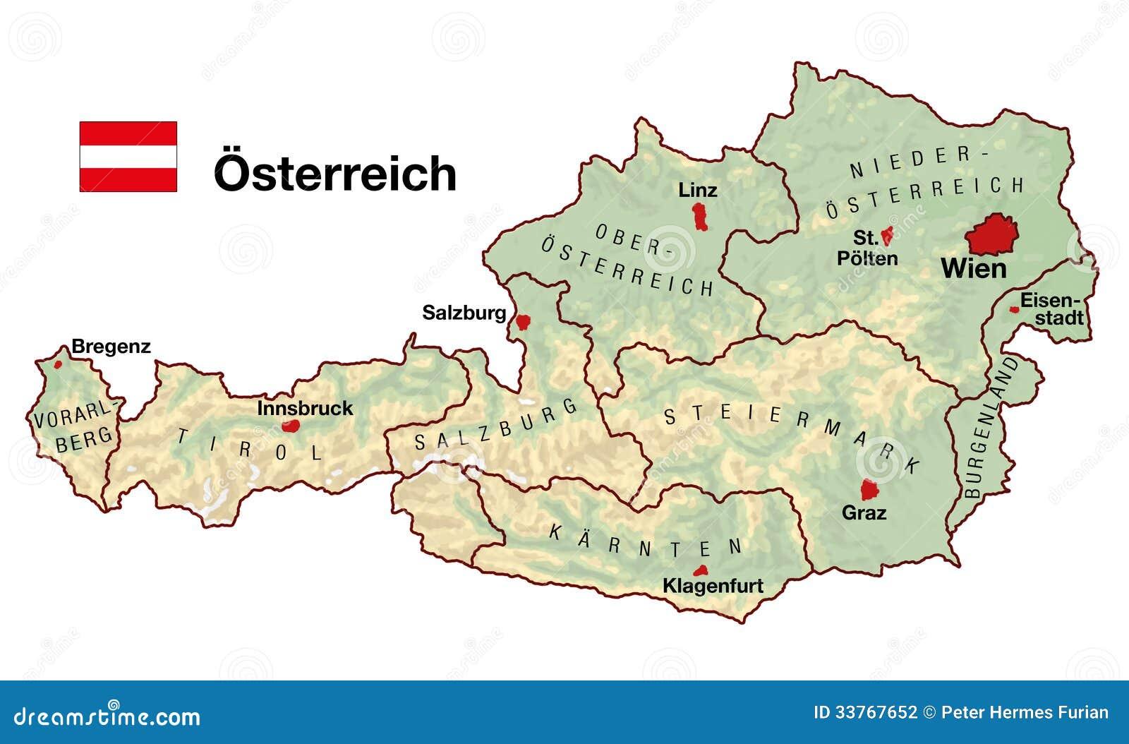 Osterreich Karte Stock Abbildung Illustration Von Berge 33767652