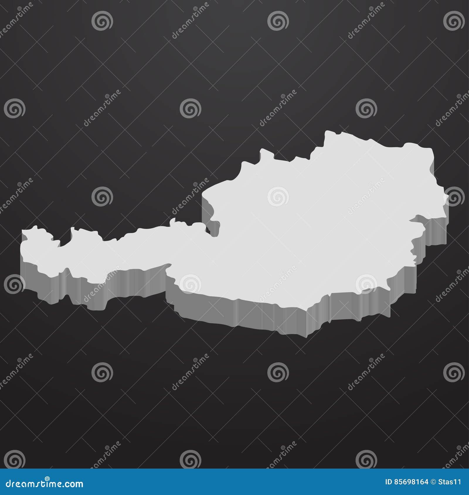 3d Karte Osterreich.Osterreich Karte Im Grau Auf Einem Schwarzen Hintergrund 3d