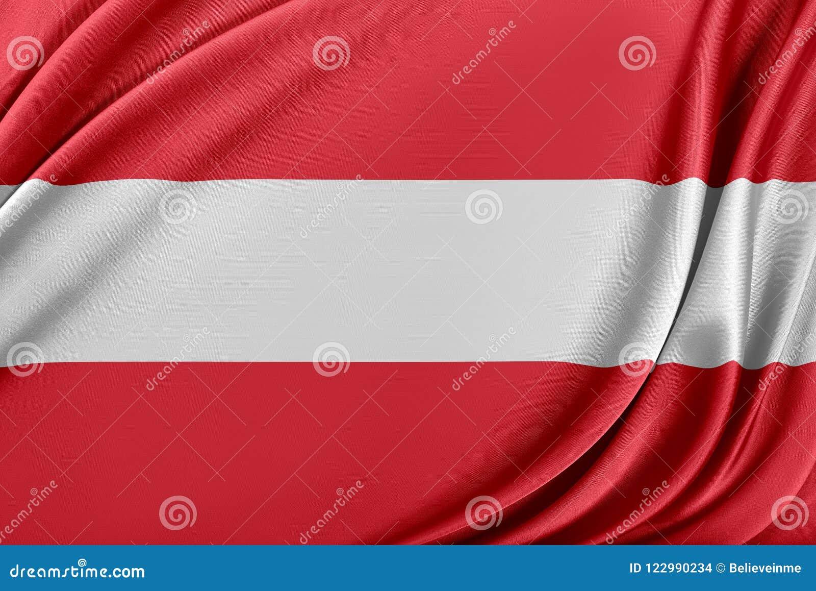 Österrike flagga med en glansig siden- textur