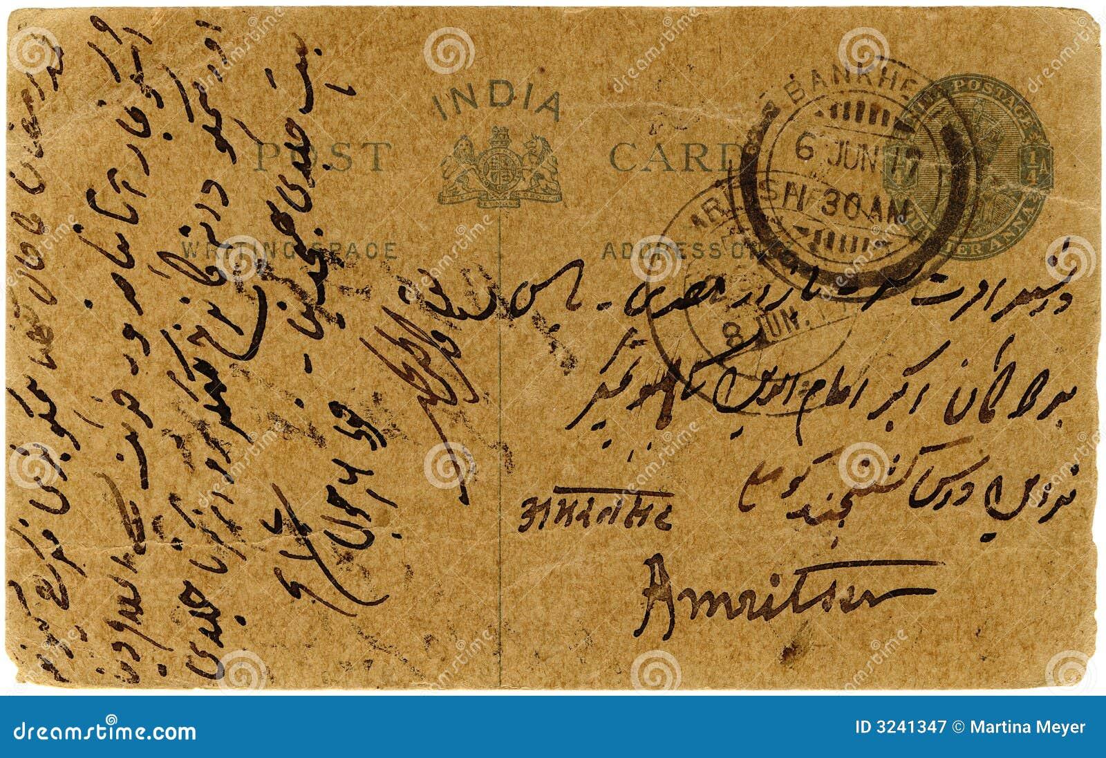 östlig indisk vykorttappning