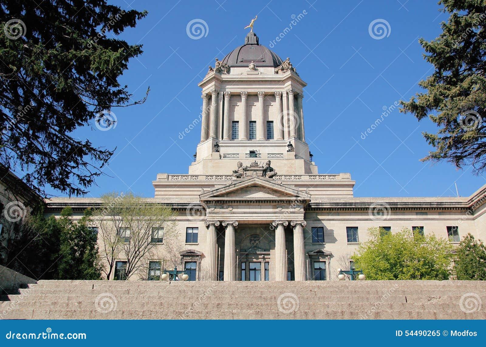 Östlig sida av Manitoba den lagstiftnings- byggnaden