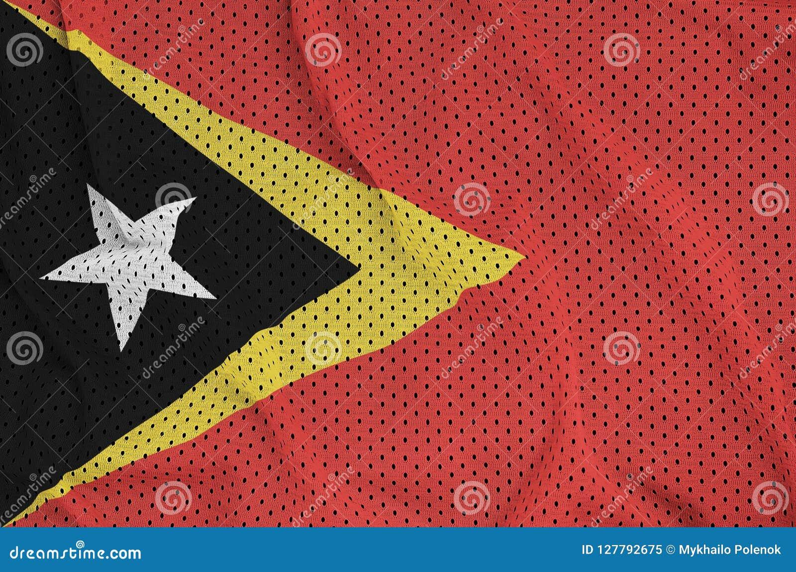 Östtimor flagga som skrivs ut på en fa för ingrepp för polyesternylonsportswear