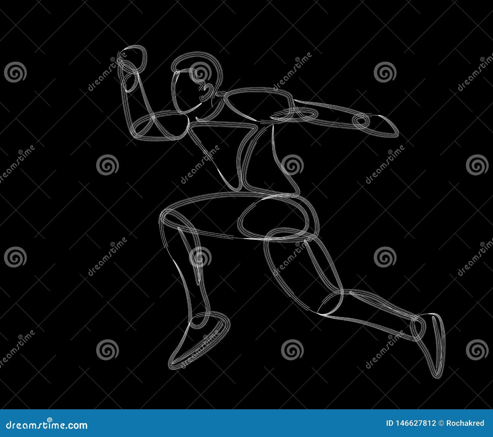 Övande lomg för idrotts- man att hoppa i friidrott