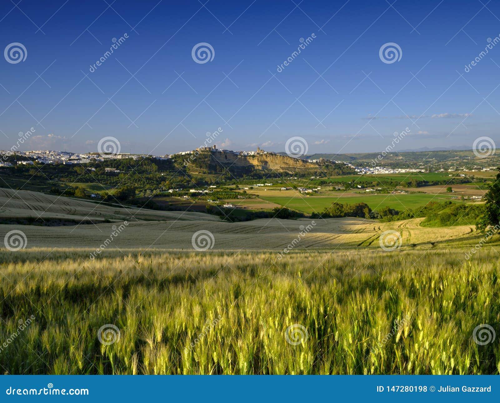 Över den Andalucian fältsikten av den vita staden på Arcos de la Frontera Spanien