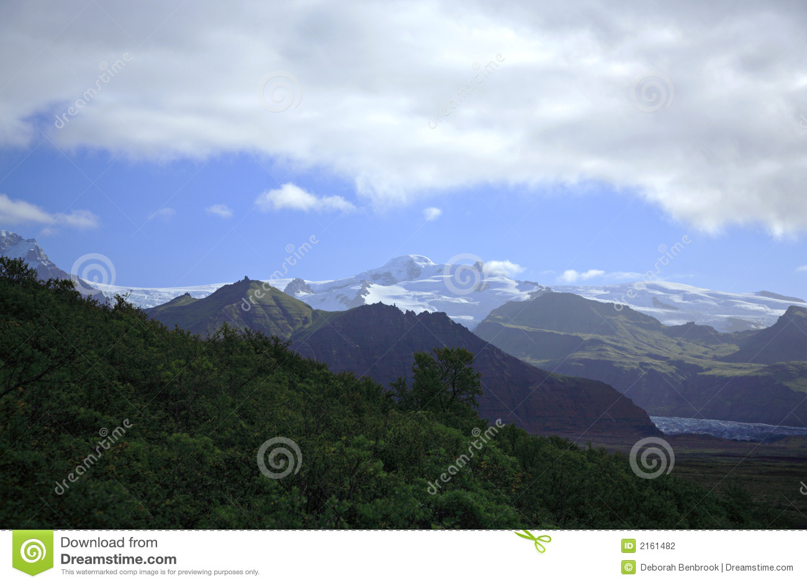 över glaciärer som ska visas