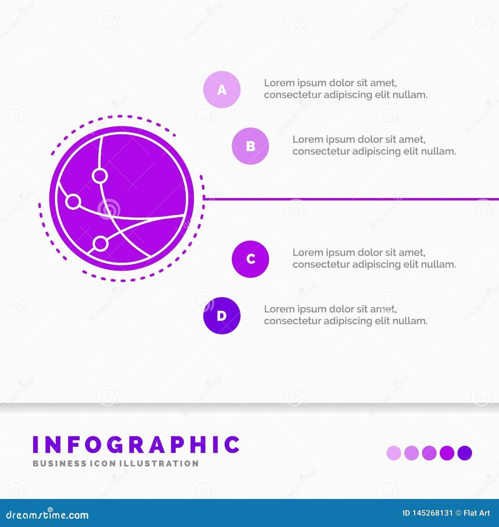 över hela världen kommunikation, anslutning, internet, nätverksInfographics mall för Website och presentation Sk?ralilasymbol