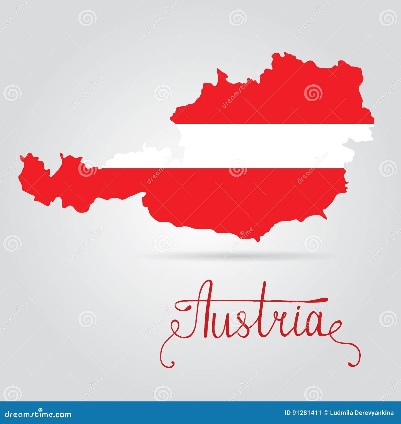 Översikt av Österrike med en officiell flagga Österrike flagga på översikt av landet på vit bakgrund
