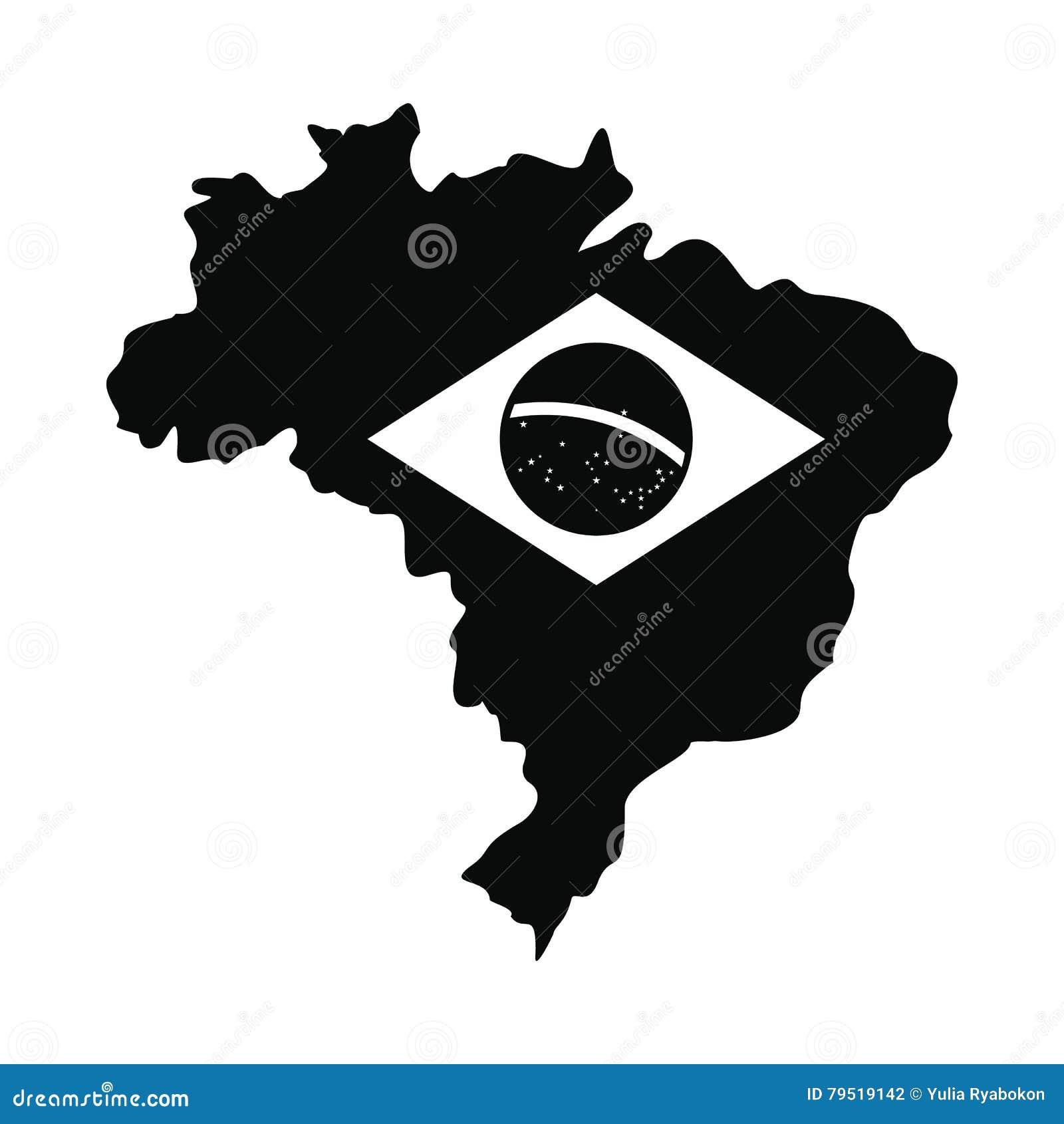 Översikt av Brasilien med bilden av nationsflaggan