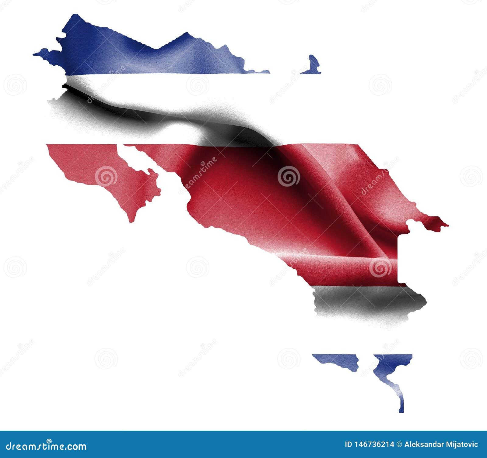Översikt av Costa Rica med den vinkande flaggan som isoleras på vit