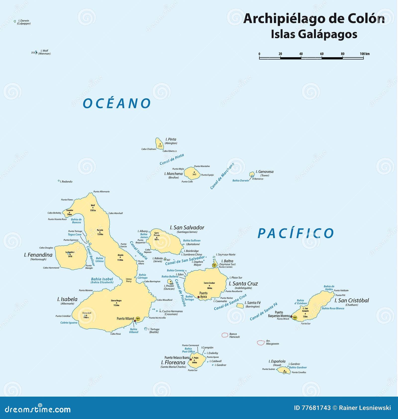 Översikt av den ecuadorianska skärgården av Galapagos