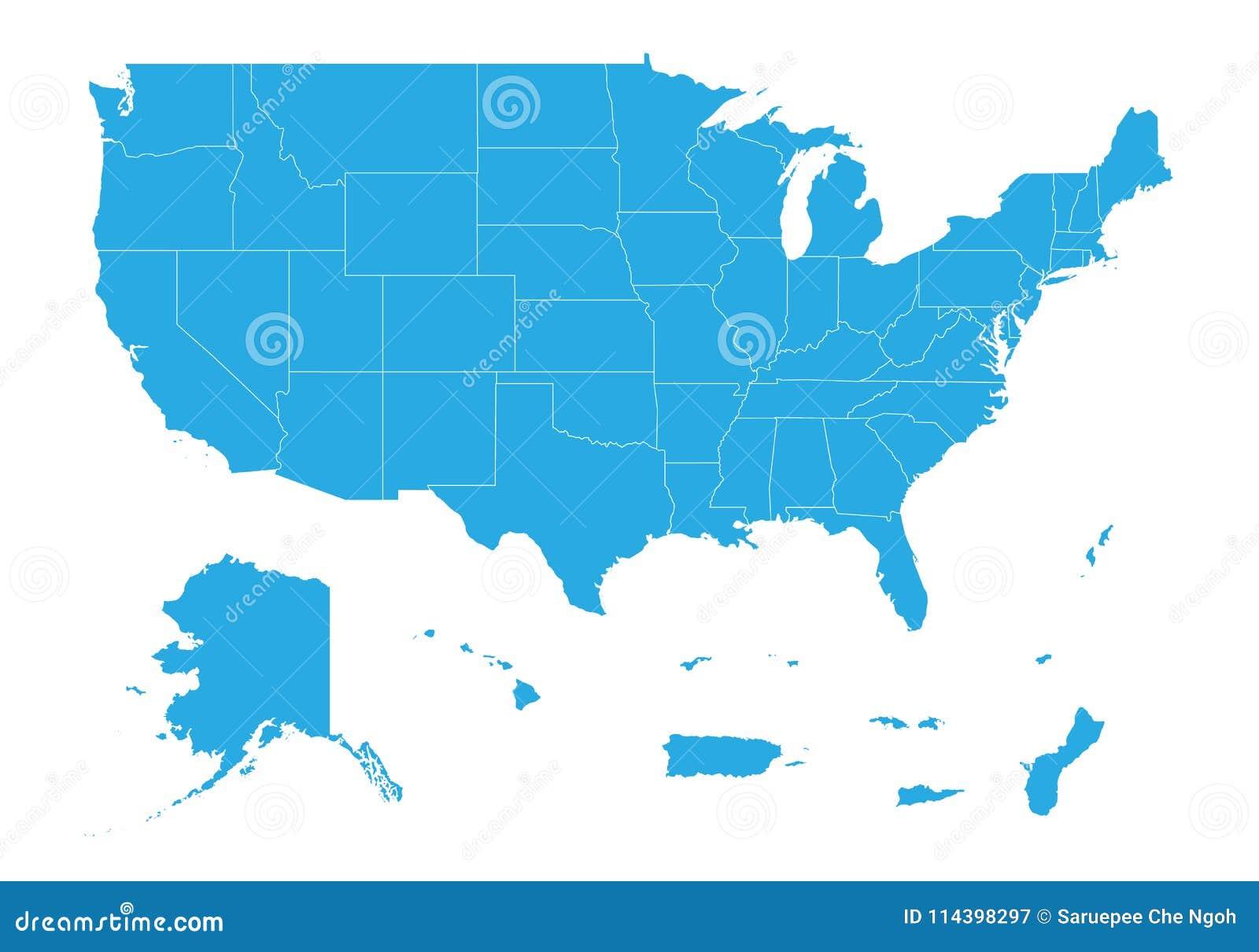 Översikt av den eniga staten av Amerika territorier Hög detaljerad vektoröversikt - enig stat av Amerika territorier