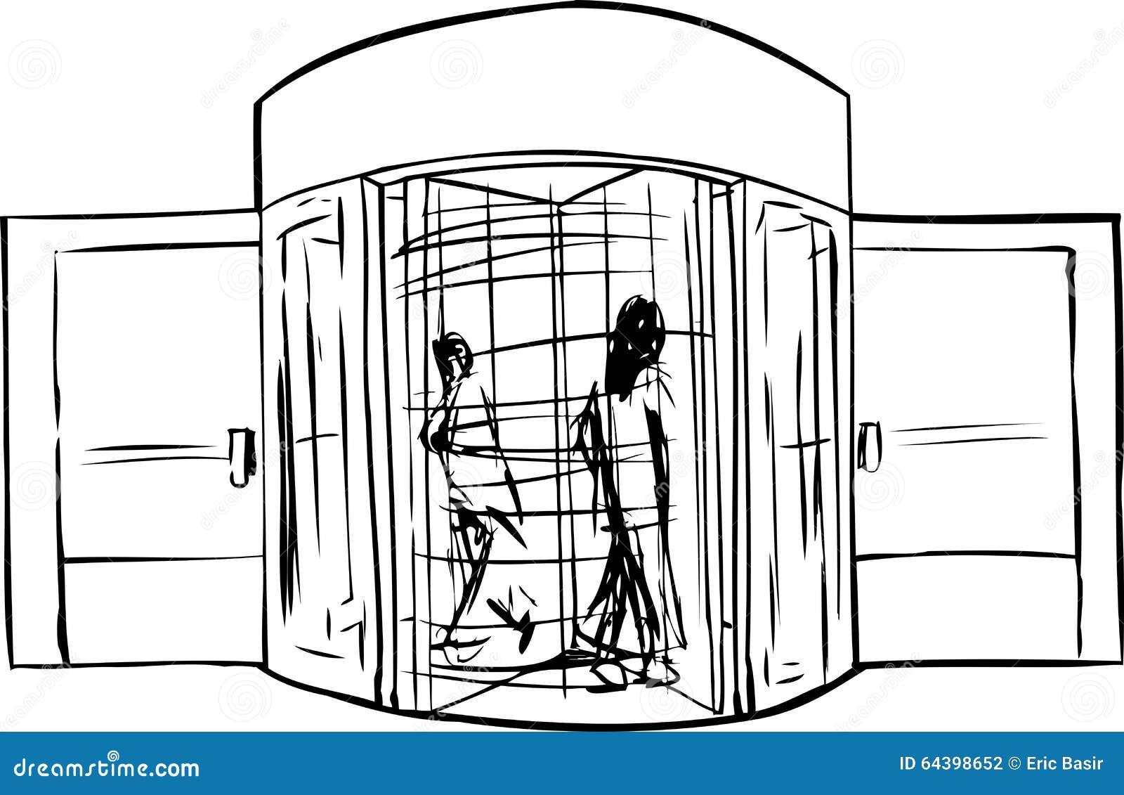 Översikt av folk, i att kretsa dörröppningen