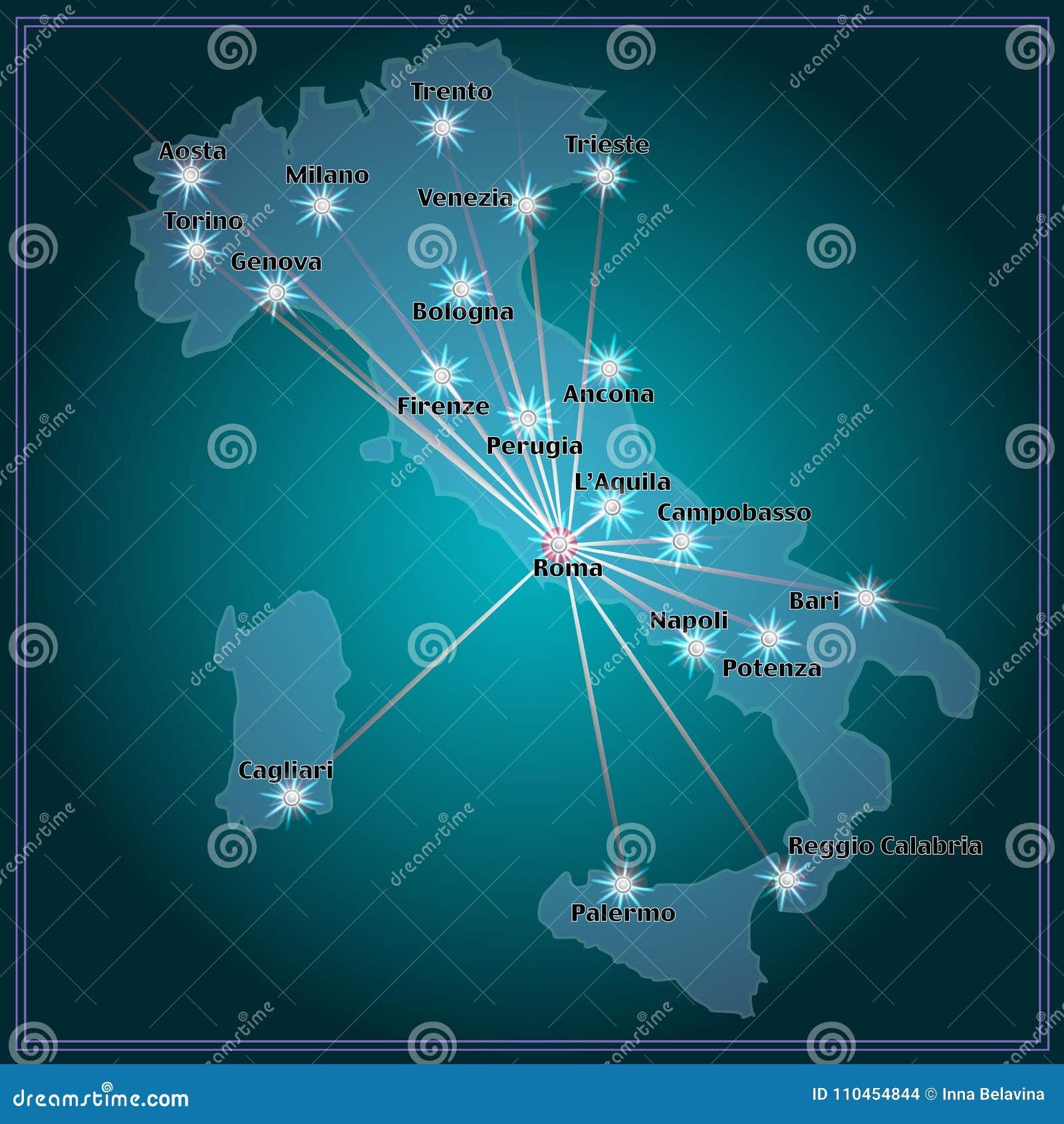 Översikt av Italien med storstäder i natt