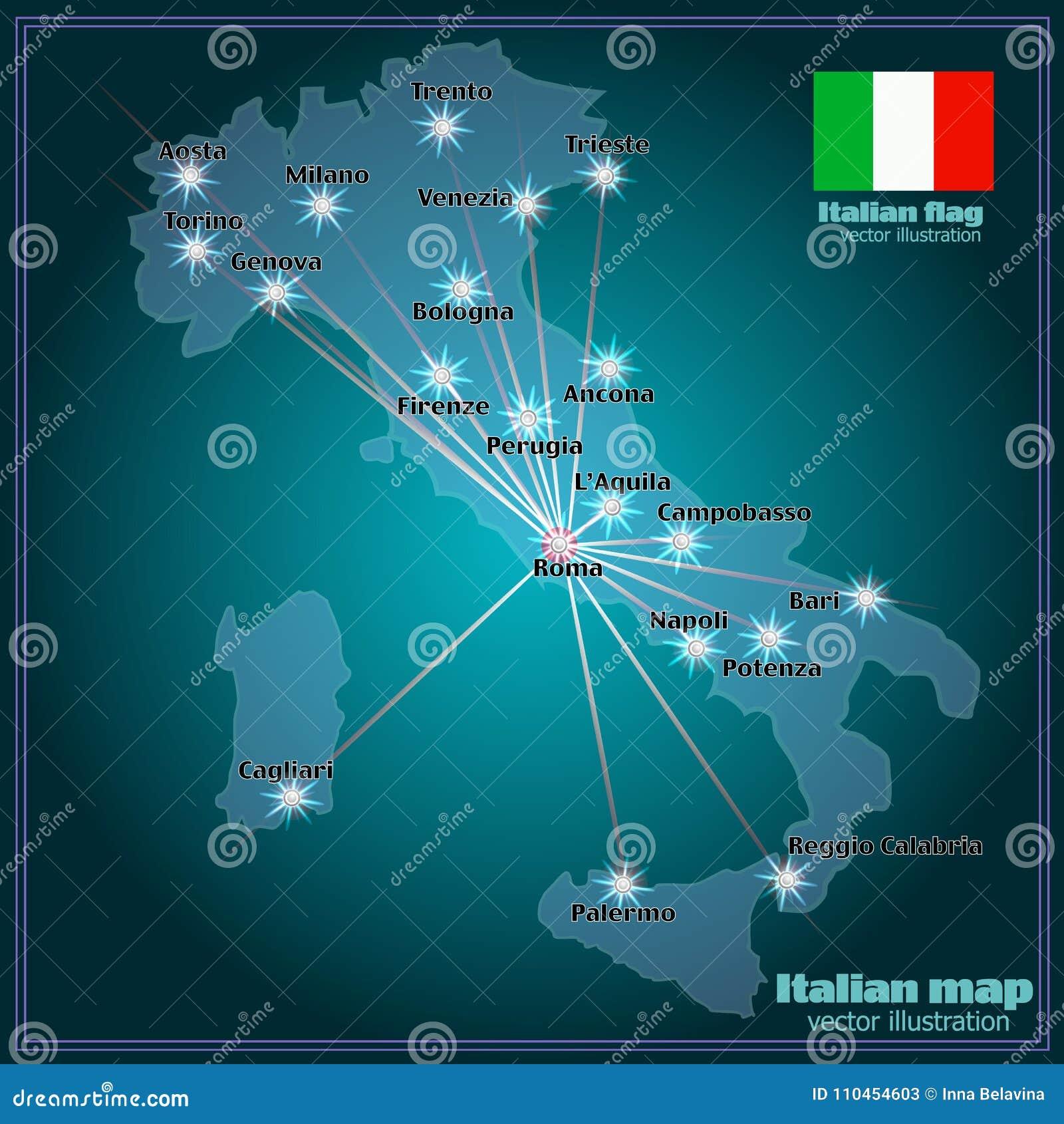 Översikt av Italien med storstäder i natt vektor