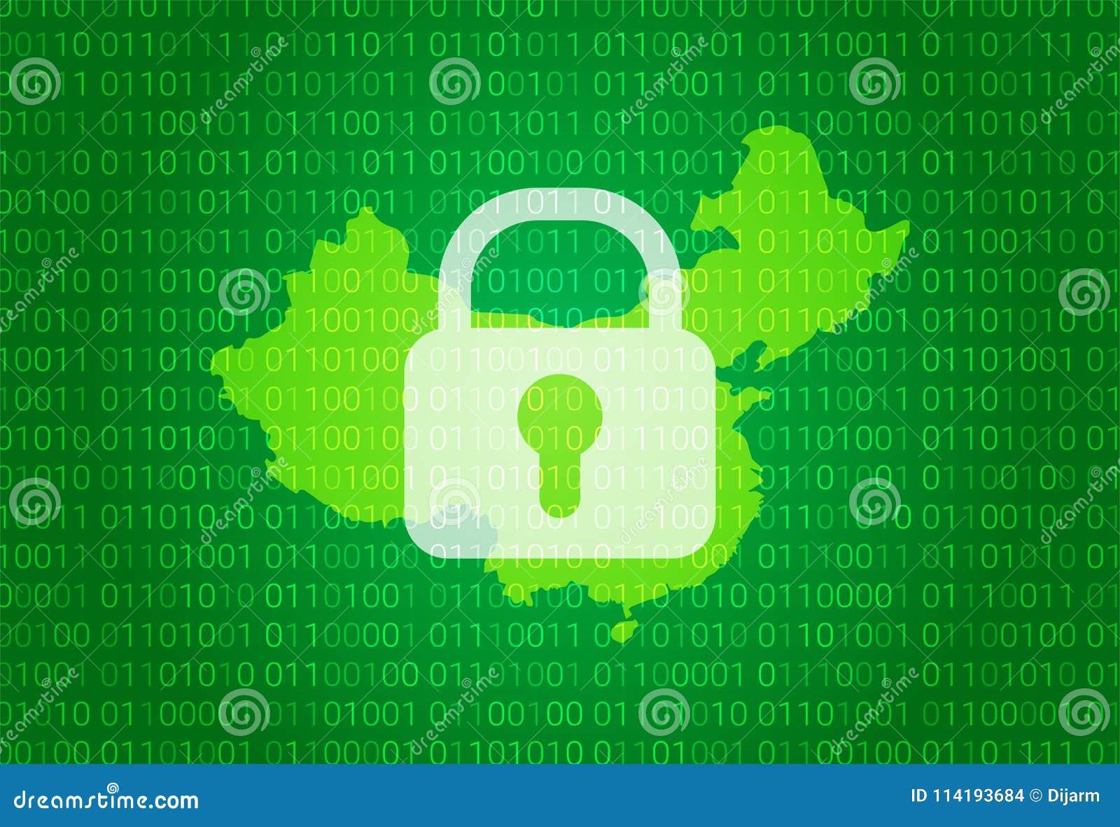 Översikt av Kina illustration med bakgrund för lås och för binär kod internet som blockerar, virusattack, avskildhet skyddar
