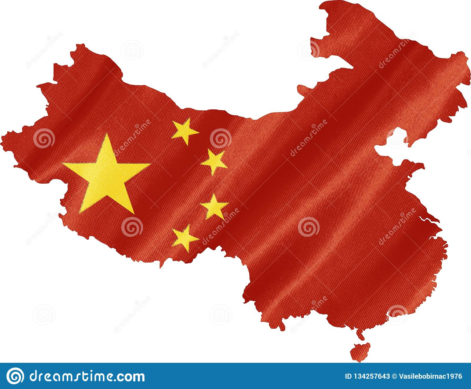 Översikt av Kina med flaggan