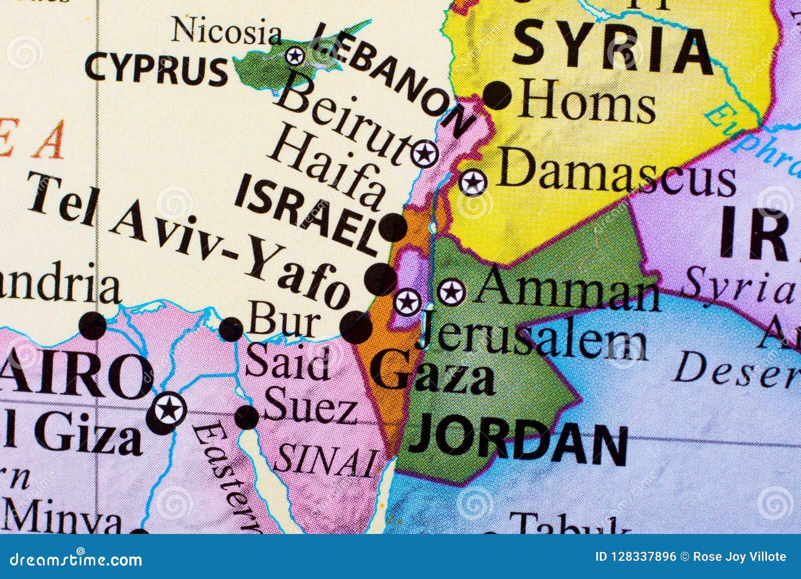 Översikt av Libanon, Israel, telefon-Aviv-Yafo, Gaza och Jordanien