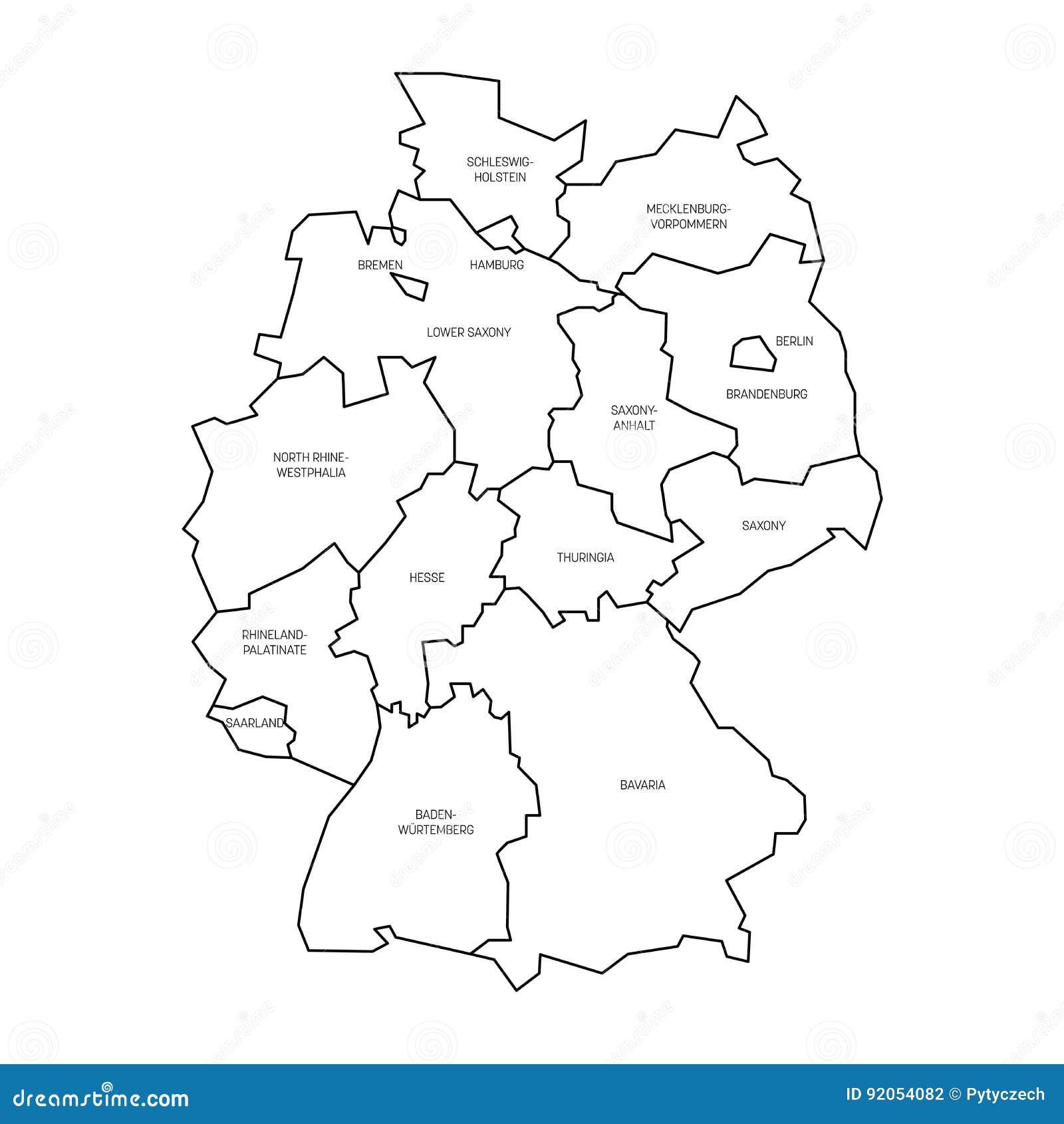 214 versikt av tyskland som delas till 13 f 246 rbundsstater och