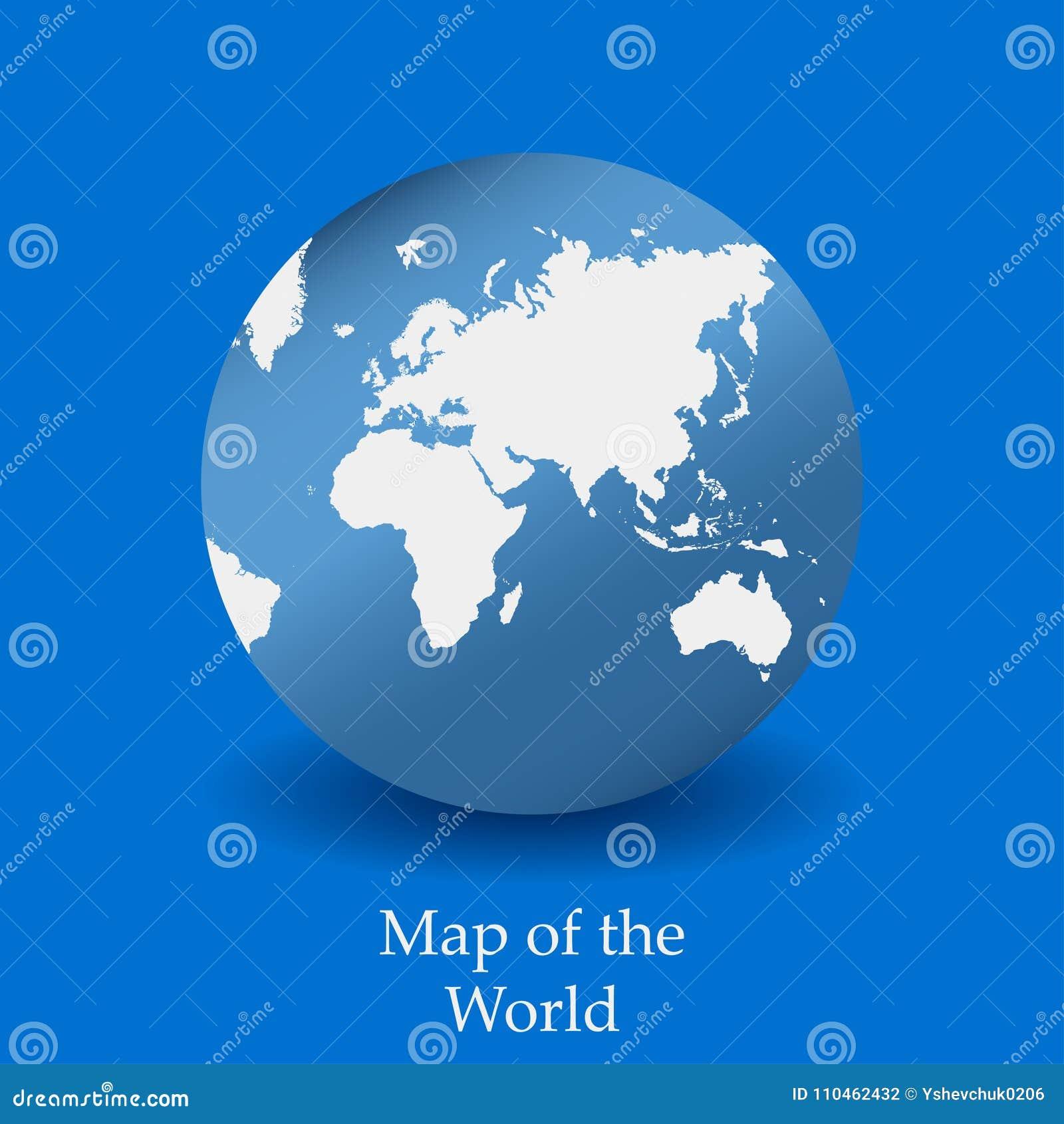 Översikt av världen på en blå bakgrund