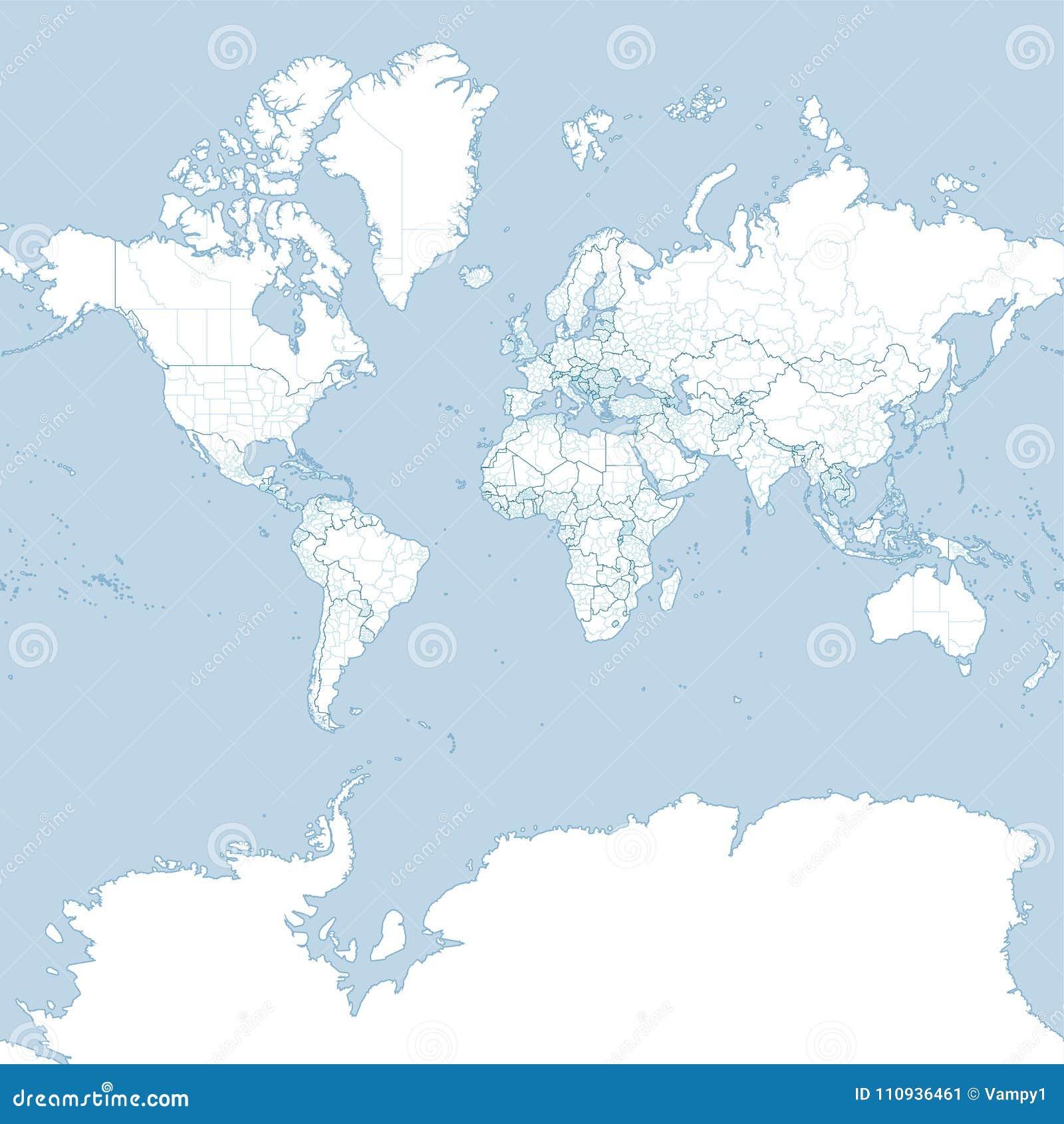 Översikt av världen, politisk planisphere